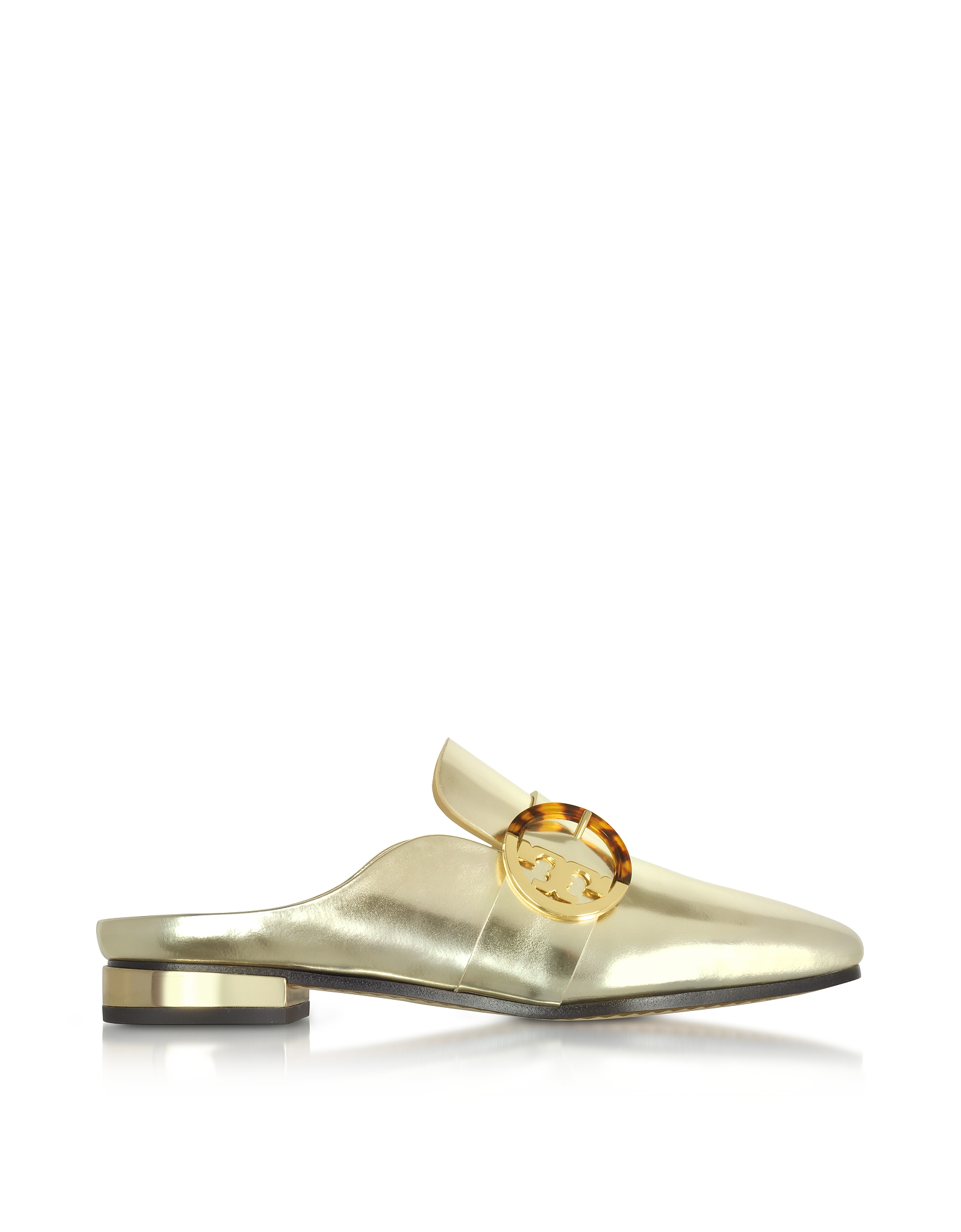 Tory Burch Shoes, Sidney Spark Gold Metallic Leather Backless Loafers