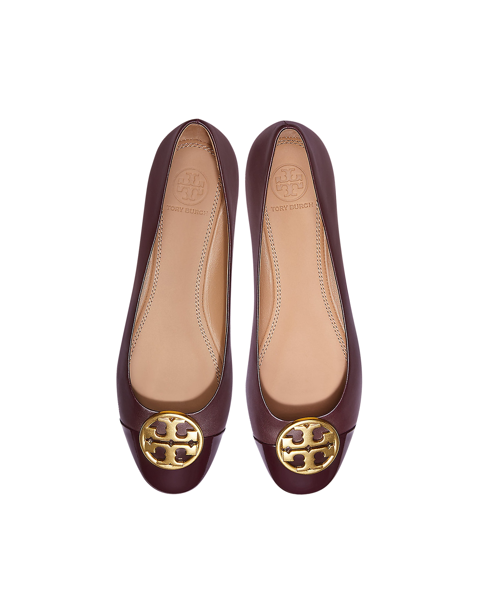 Tory Burch Shoes, Burgundy Nappa & Patent Leather Chelsea Cap-Toe Ballet Flats