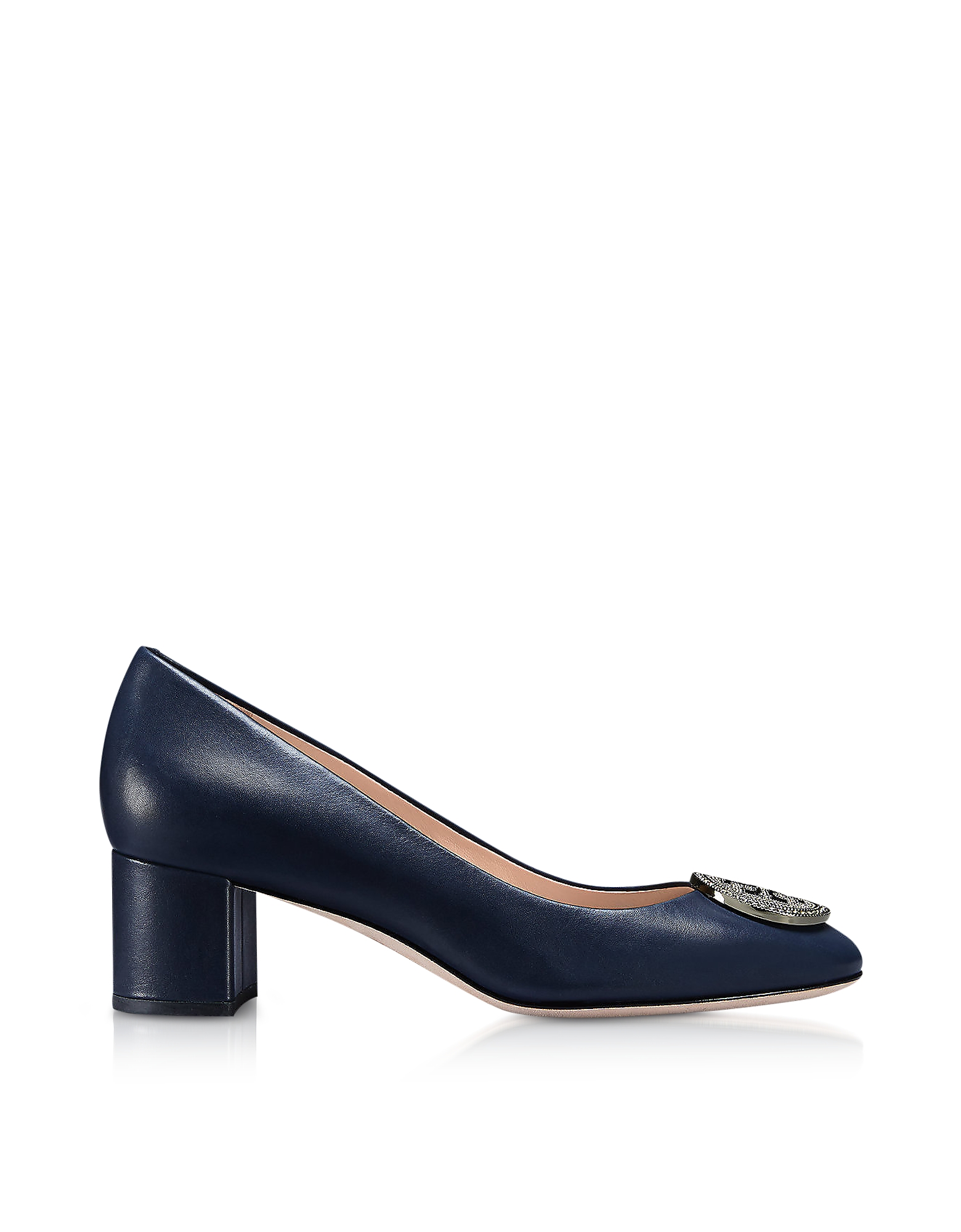 Tory Burch Shoes, Perfect Navy Nappa Leather 45MM Liana Pumps