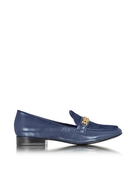 Foto Tory Burch Gemini Link Mocassino in Pelle e Cavallino Blu Navy Scarpe