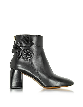 Blossom Black Leather Bootie