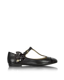 Blossom T-Strap Flat Leather Ballerina - Tory Burch
