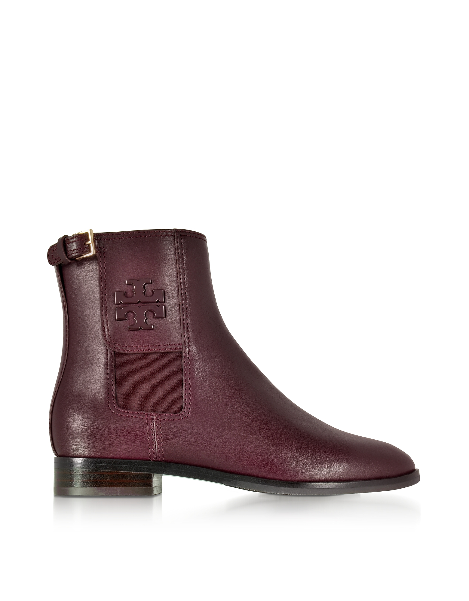 Tory Burch Shoes, Wyatt Maroon Leather Bootie