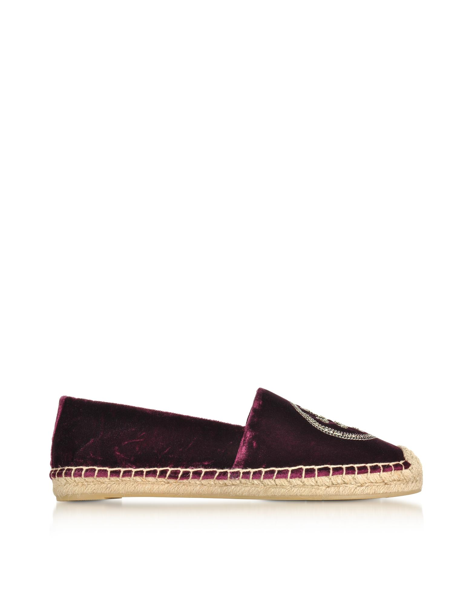 Tory Burch Shoes, Bordeaux Velvet Chain Espadrille