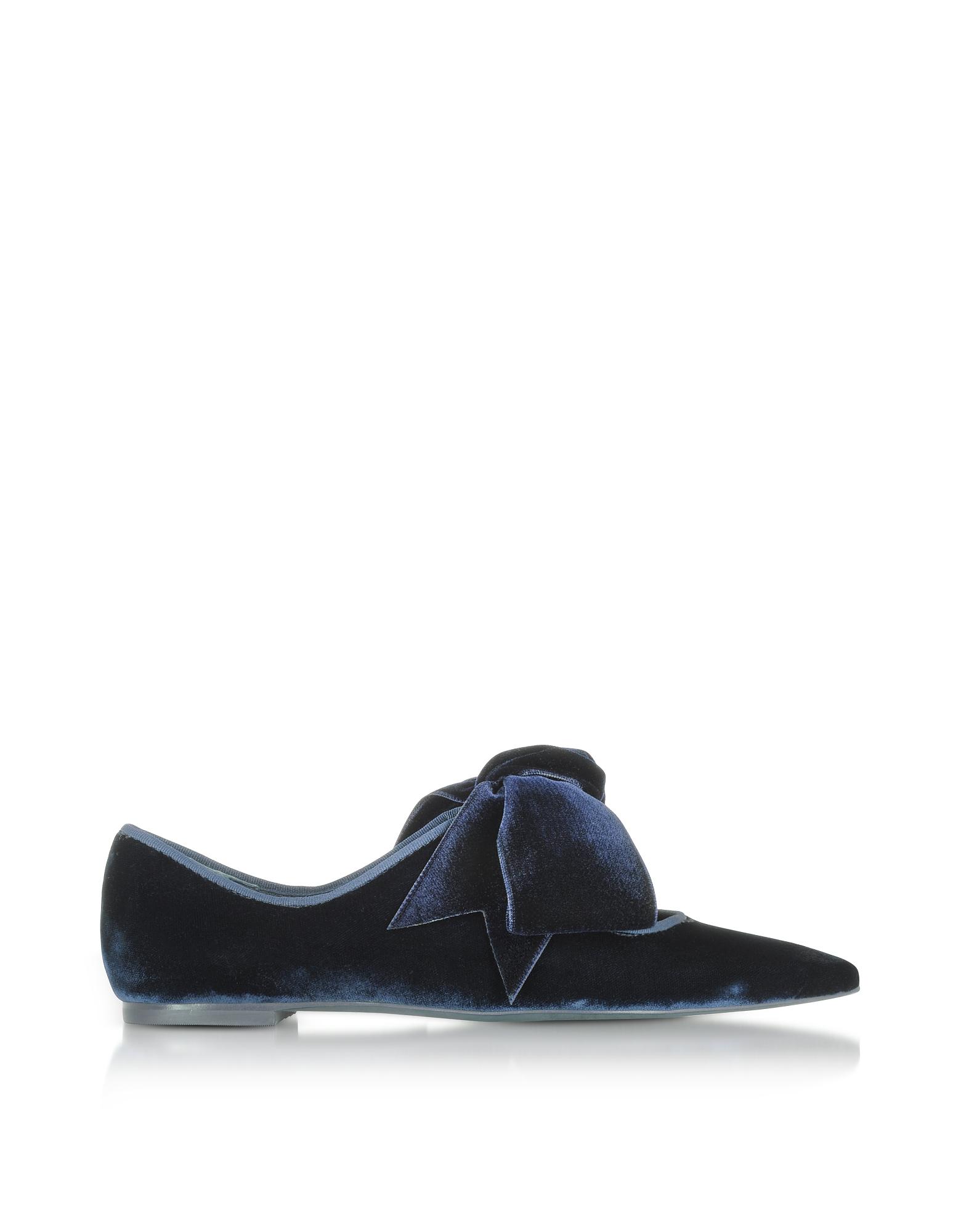 Tory Burch Shoes, Clara Flat Blue Velvet and Grossgrain Ballerina