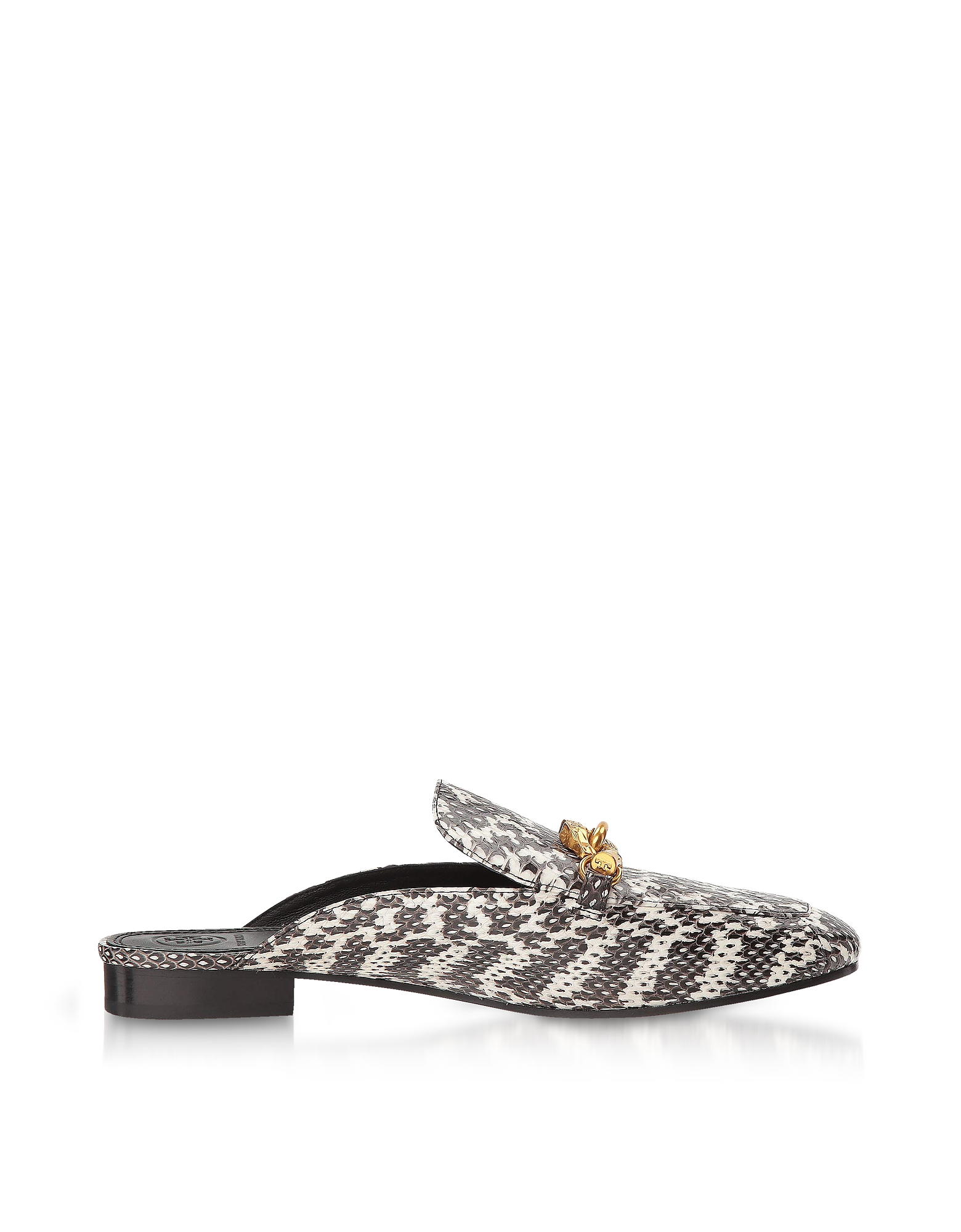 Tory Burch Shoes, Black and White Roccia Embossed Leather Jessa Backless Loafer