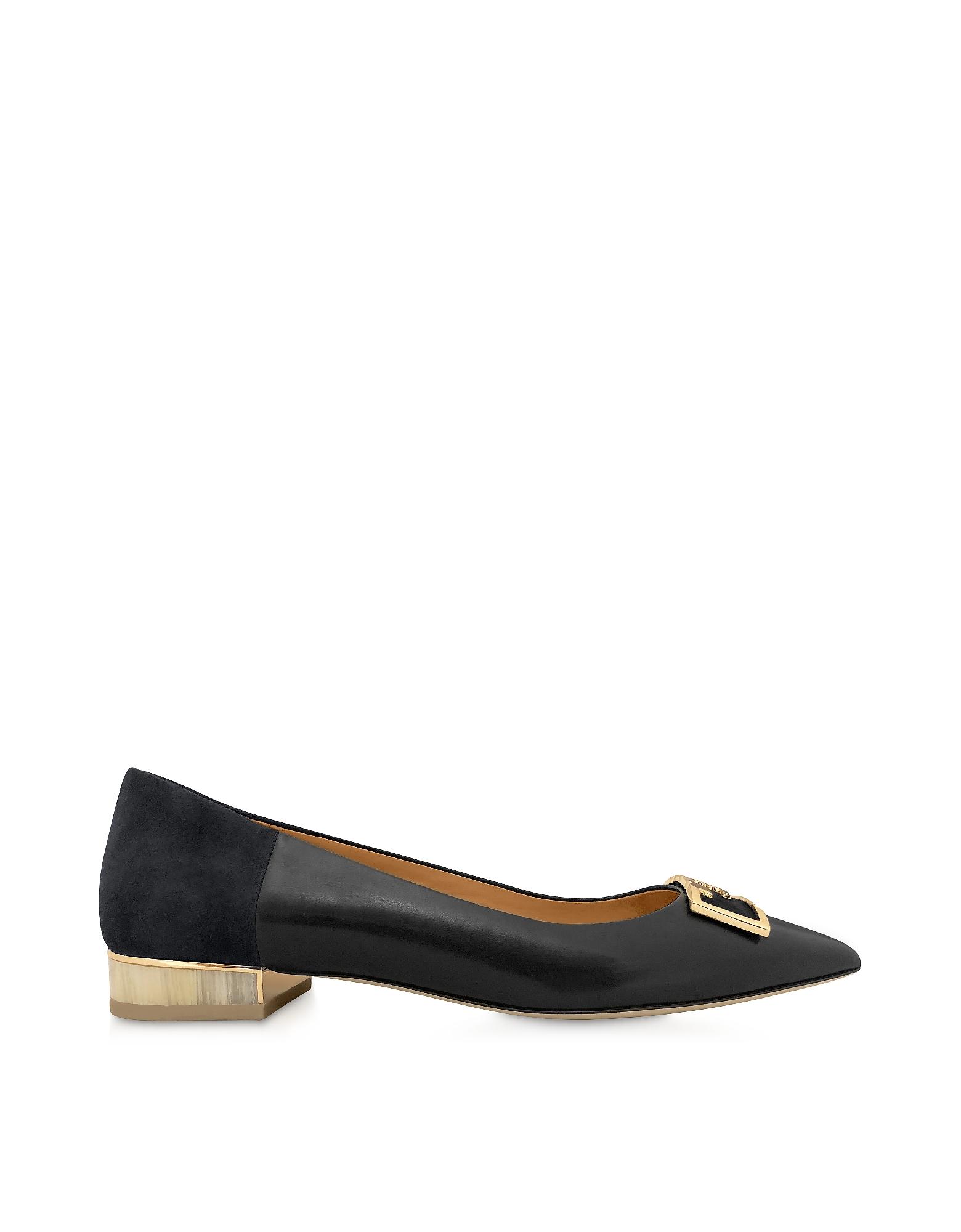Perfet Black Gigi 20mm Pointy Toe Flat Ballerinas