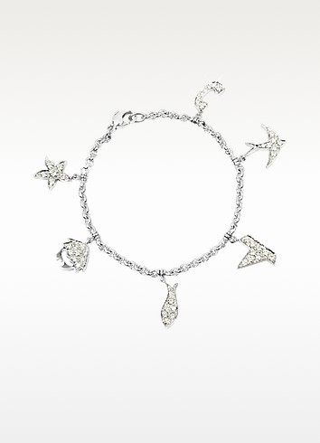 Sea - 1.18 ctw White Gold Diamond Charm Bracelet - Colucci Diamonds