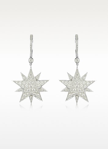 3.73 ctw White Gold Diamond Star Earrings - Colucci Diamonds