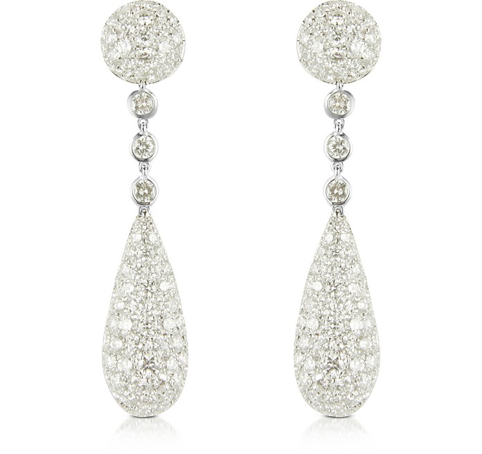 Pendientes de Oro Blanco 18K y Diamantes 12.11 ctw - Colucci Diamonds