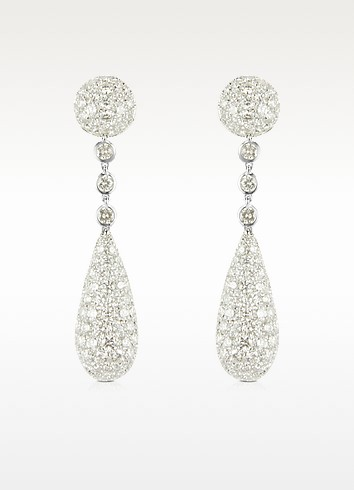 12.11 ctw White Gold Diamond Drop Earrings - Colucci Diamonds