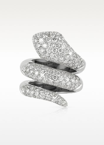 Snake - Anillo de Oro Blanco 18K y Diamantes 3.88 ctw - Colucci Diamonds