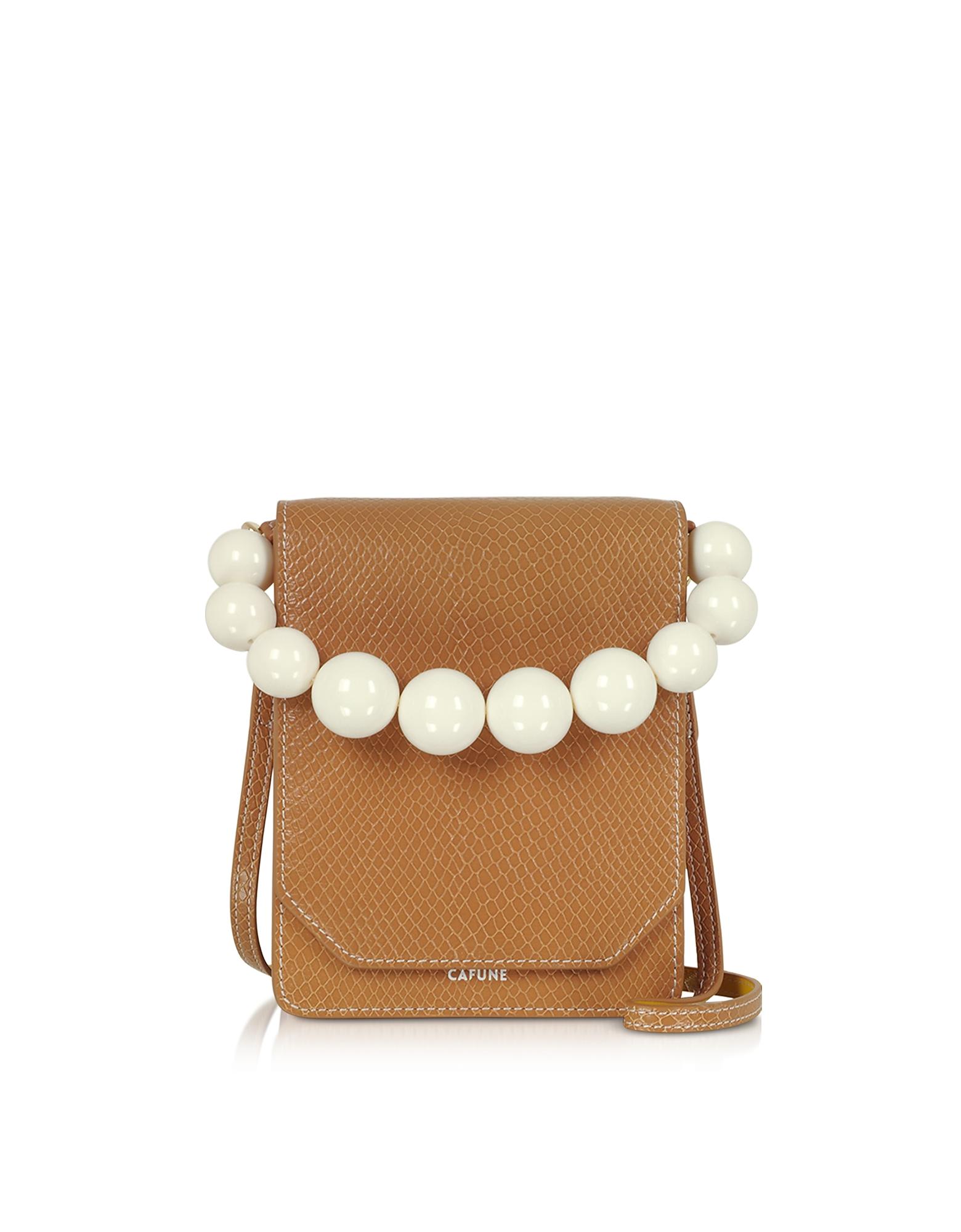 Cafuné Designer Handbags, Caramel Leather Bellows Crossbody Bag