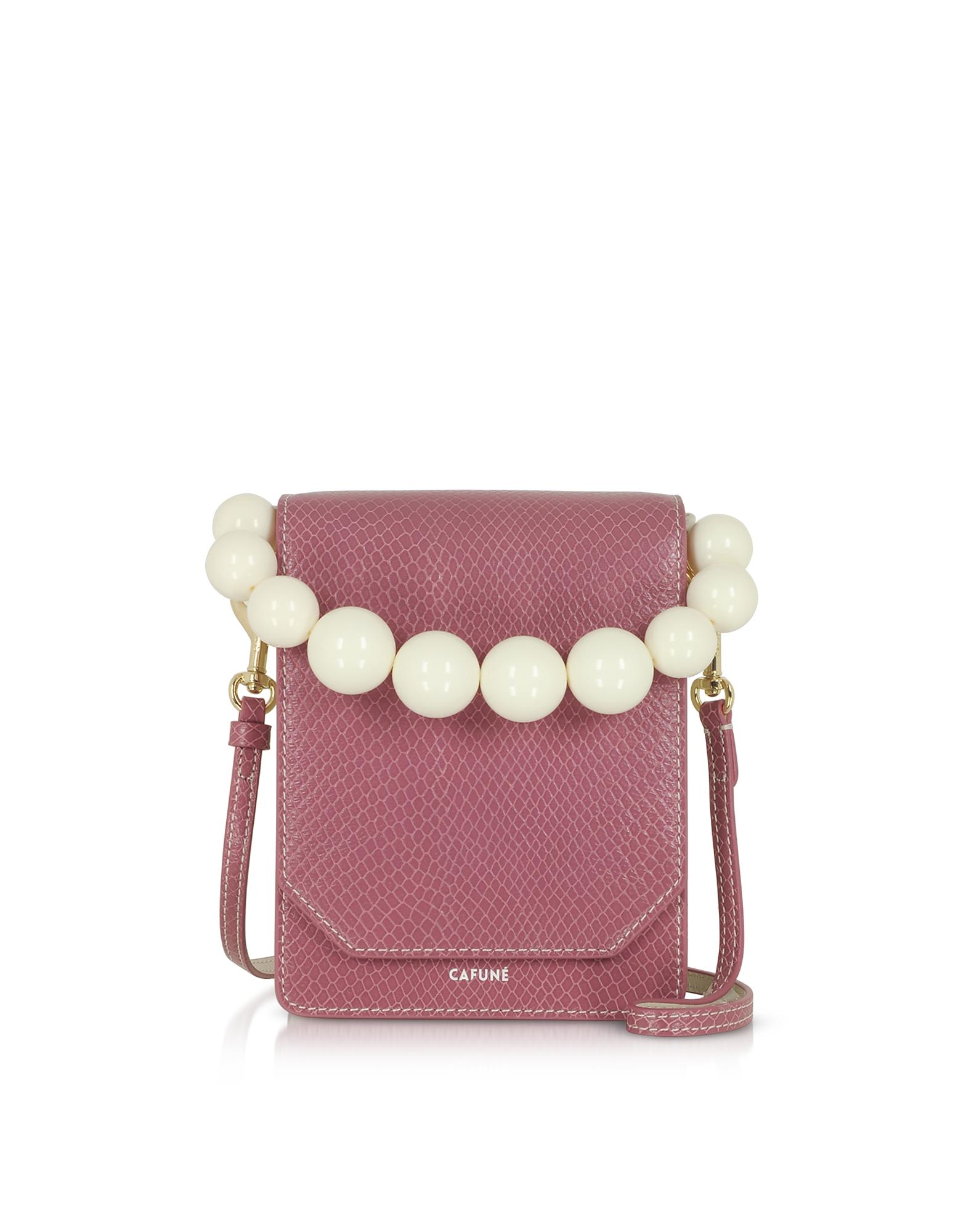 Cafuné Designer Handbags, Mauve Leather Bellows Crossbody Bag