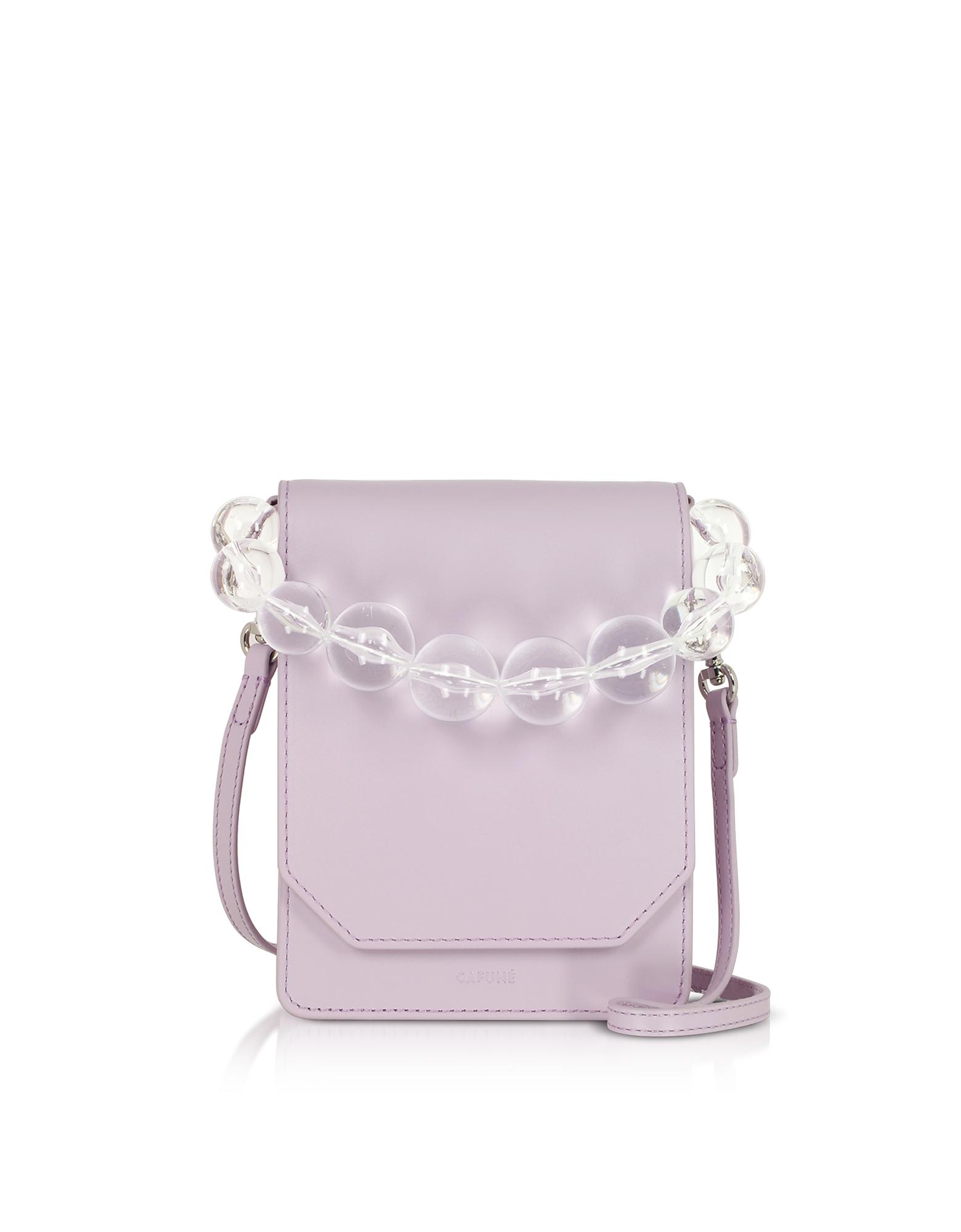 Cafuné Designer Handbags, Lilac Smooth Leather Bellows Crossbody Bag
