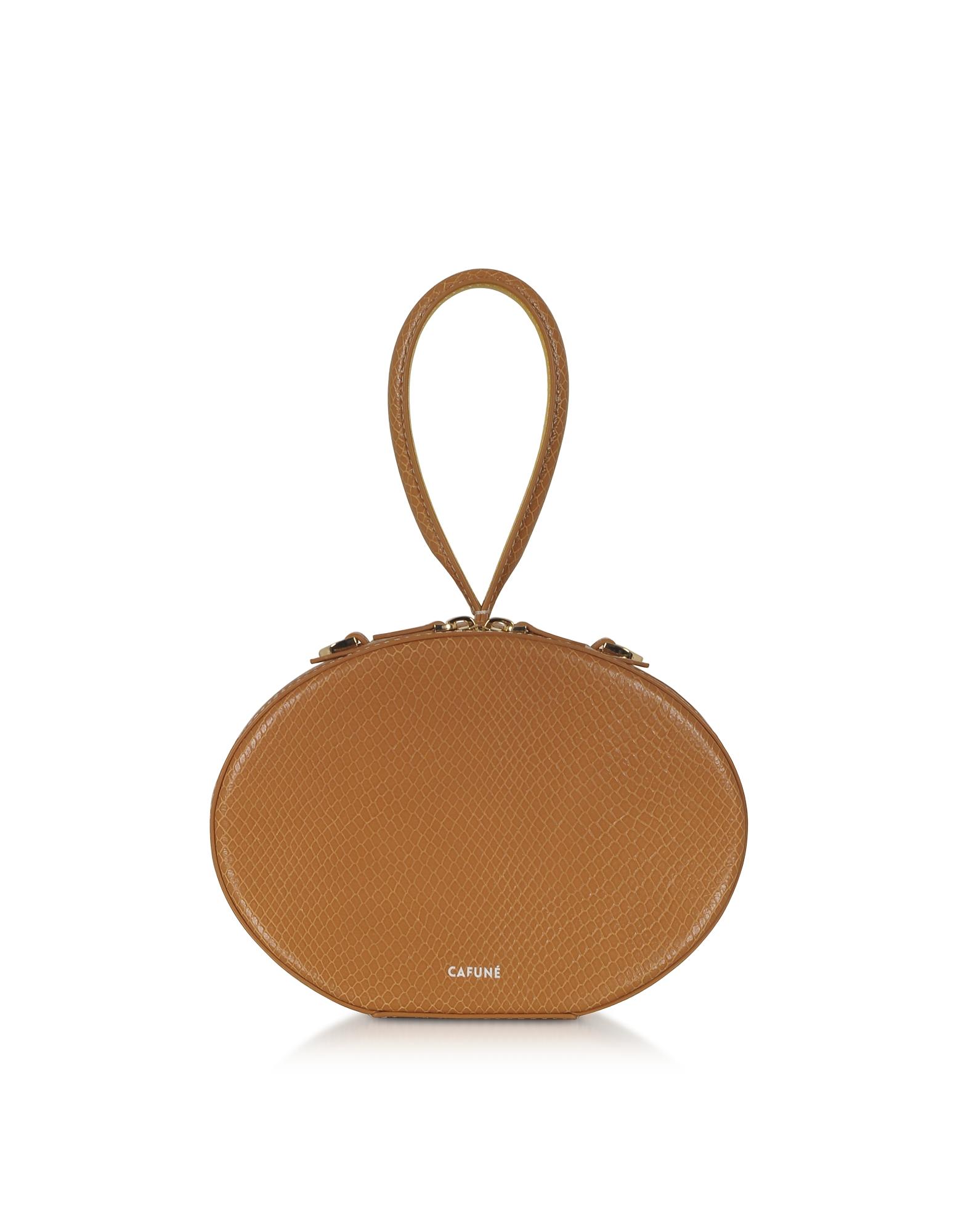 Cafuné Designer Handbags, Caramel Leather Egg Bag
