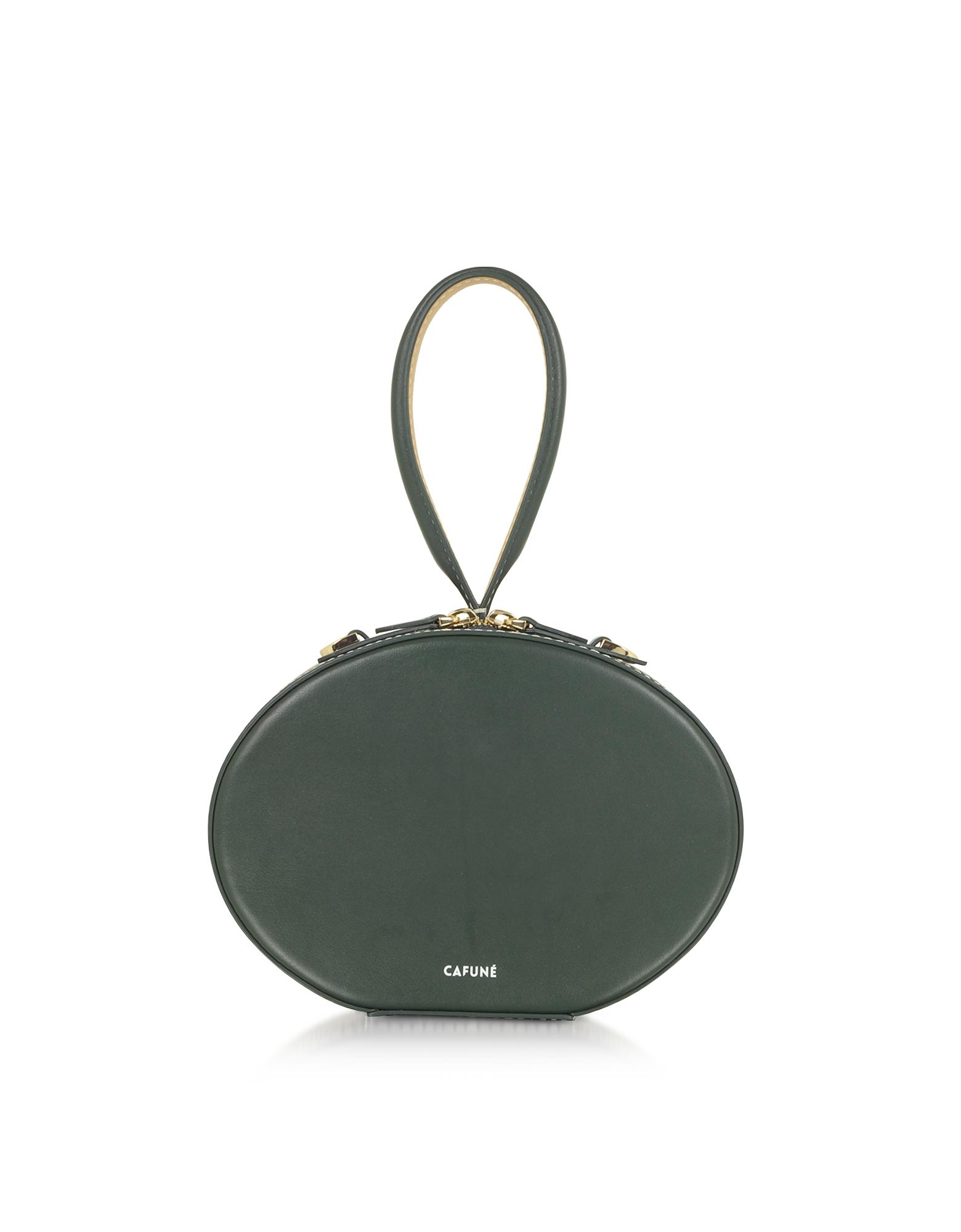 Cafuné Designer Handbags, Forest Green Leather Egg Bag