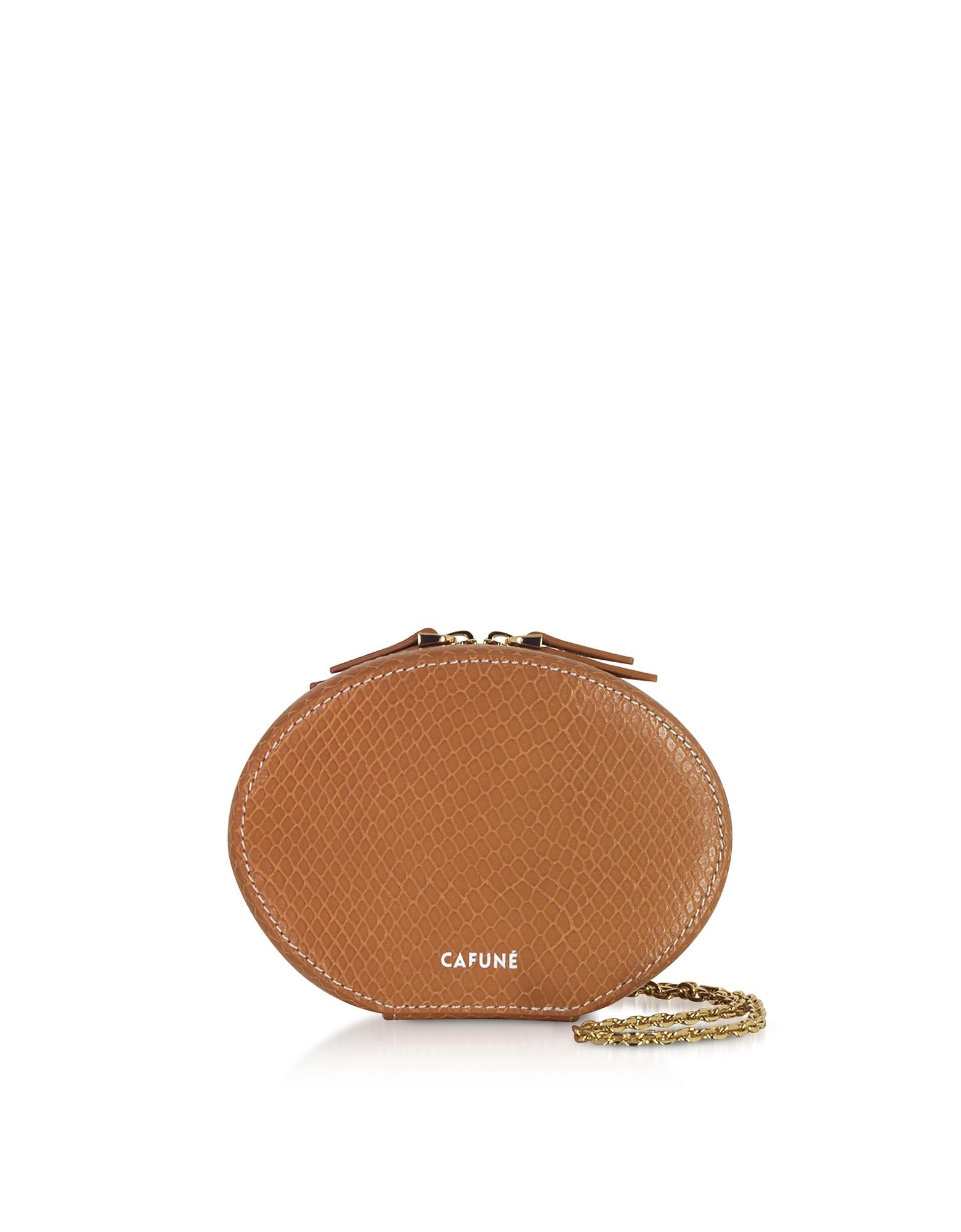 Cafuné Designer Handbags, Caramel Leather Egg Chain Shoulder Bag