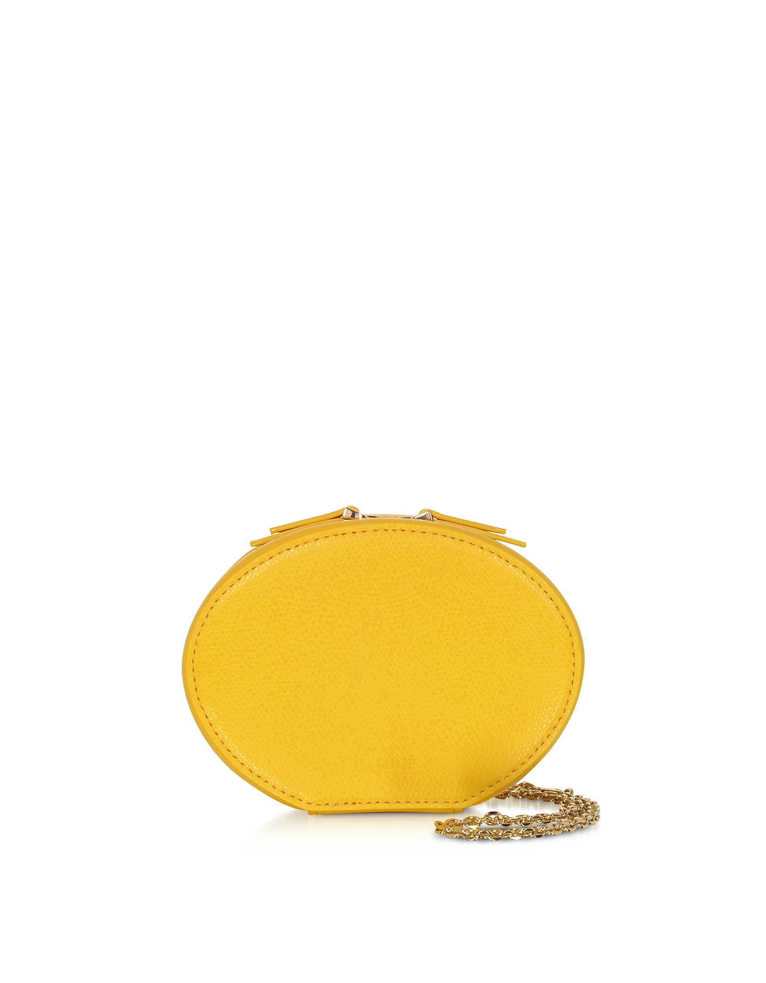 Cafuné Designer Handbags, Dandelion Yellow Leather Egg Chain Shoulder Bag
