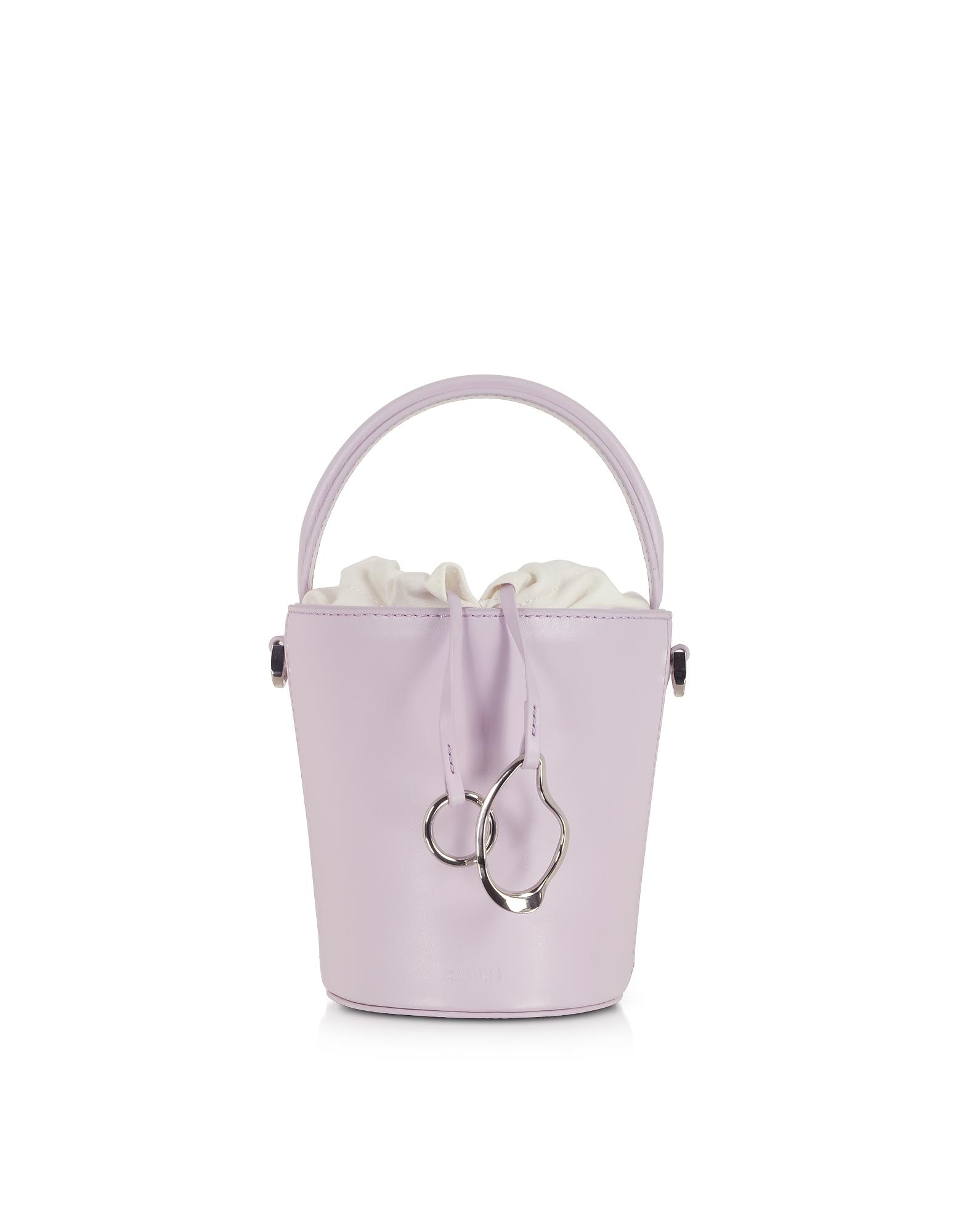 Cafuné Designer Handbags, Lilac Leather Mini Bucket Bag