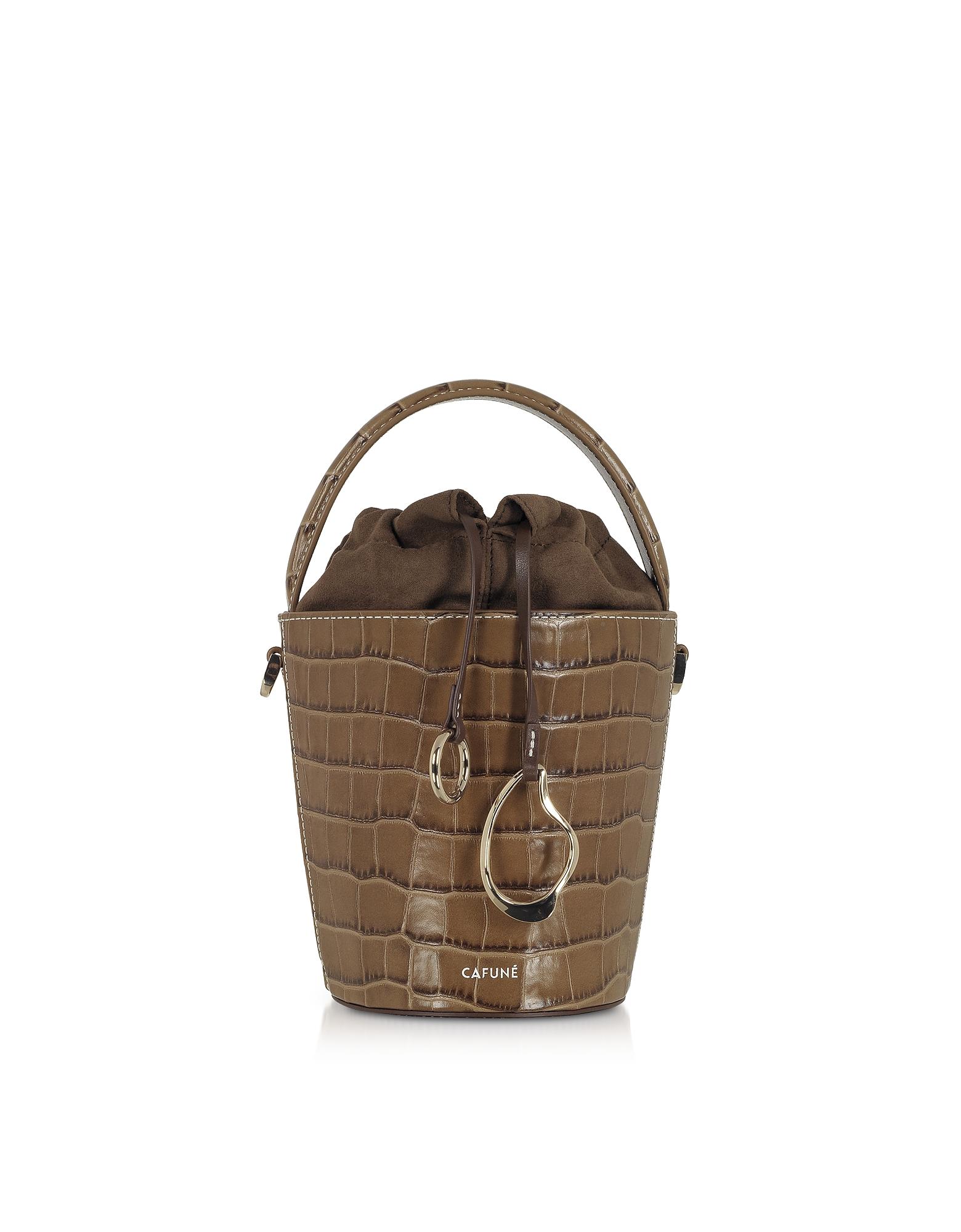 Cafuné Designer Handbags, Walnut Croco Embossed Leather Mini Bucket Bag