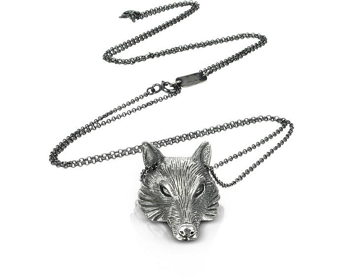Sterling Silver Wolf Pendant Necklace - Ugo Cacciatori