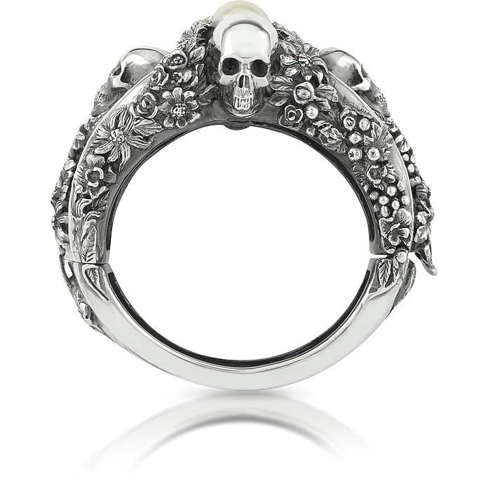 Light Pearl Foliage & Skulls Sterling Silver Bracelet - Ugo Cacciatori