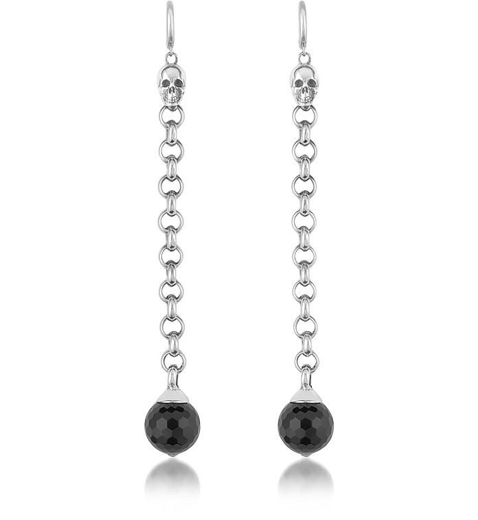 Onyx Orb & Skull Sterling Silver Earrings - Ugo Cacciatori