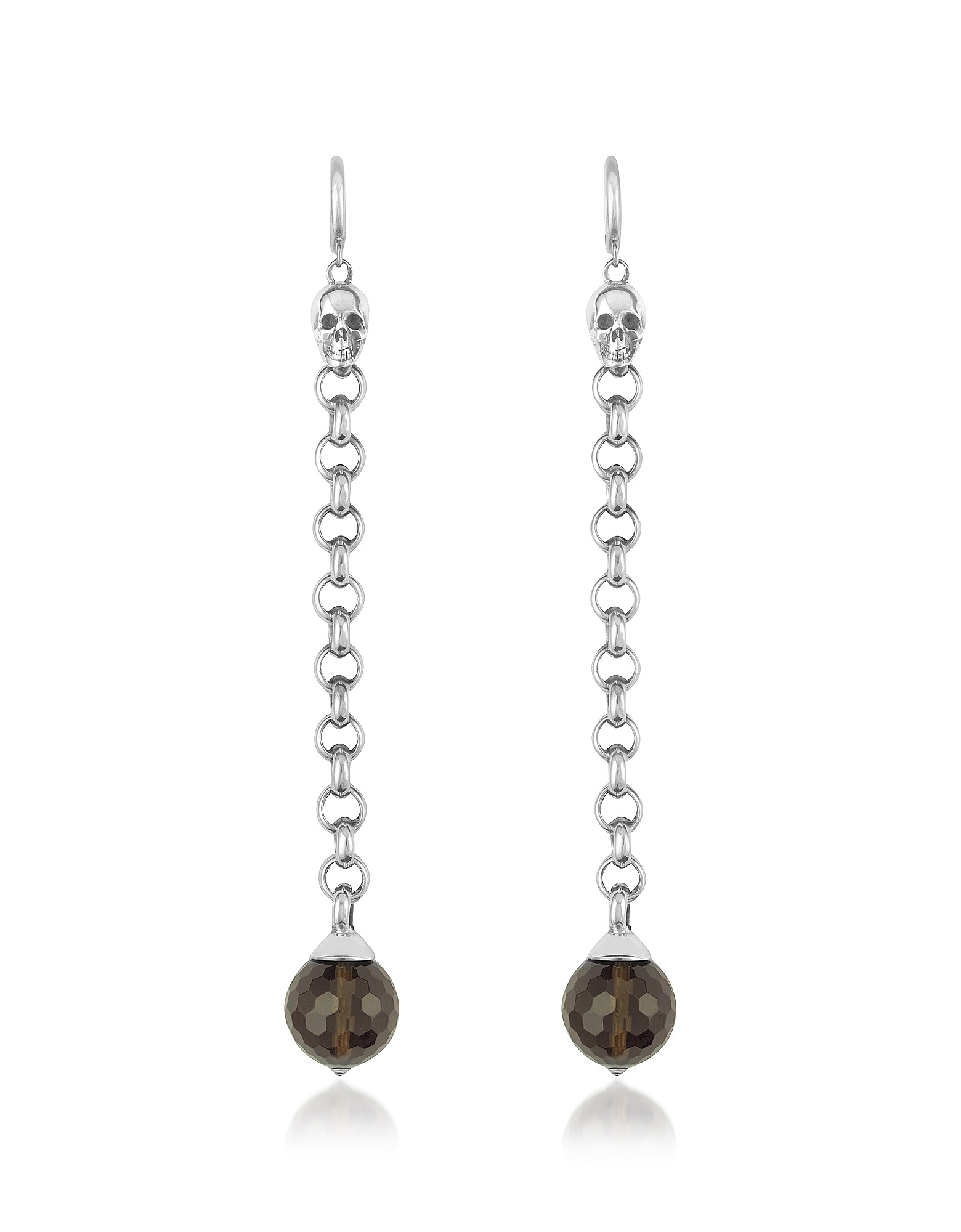 Image of Ugo Cacciatori Designer Earrings, Smoky Quartz Orb & Skull Sterling Earrings