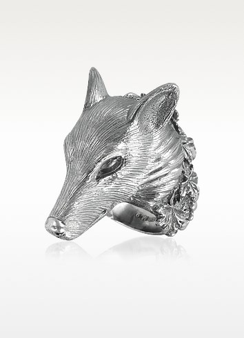 Sterling Silver Wolf Ring - Ugo Cacciatori