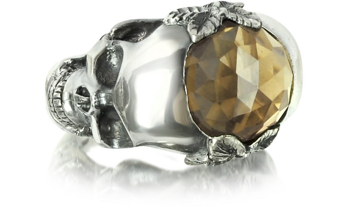 Sterling Silver and Smoky Quartz Double Skull Ring - Ugo Cacciatori