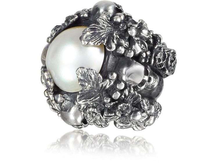 Sterling Silver and Light Pearl Foliage and Skulls Ring - Ugo Cacciatori