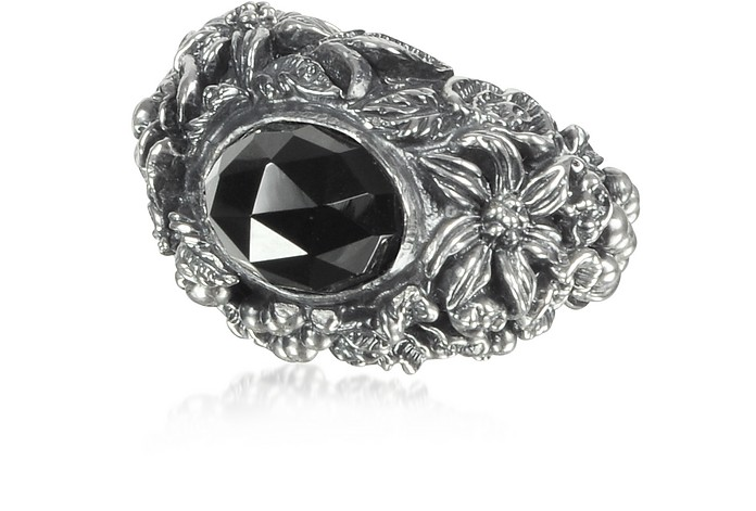 Onyx and Sterling Silver Foliage Solitaire Ring - Ugo Cacciatori