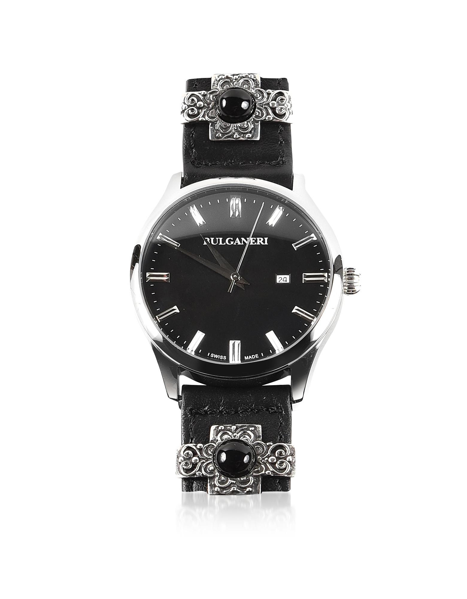 Bulganeri Designer Men's Watches, Giglio Black Dial, Stainless Steel Men's Watch w/Silver, Malachite