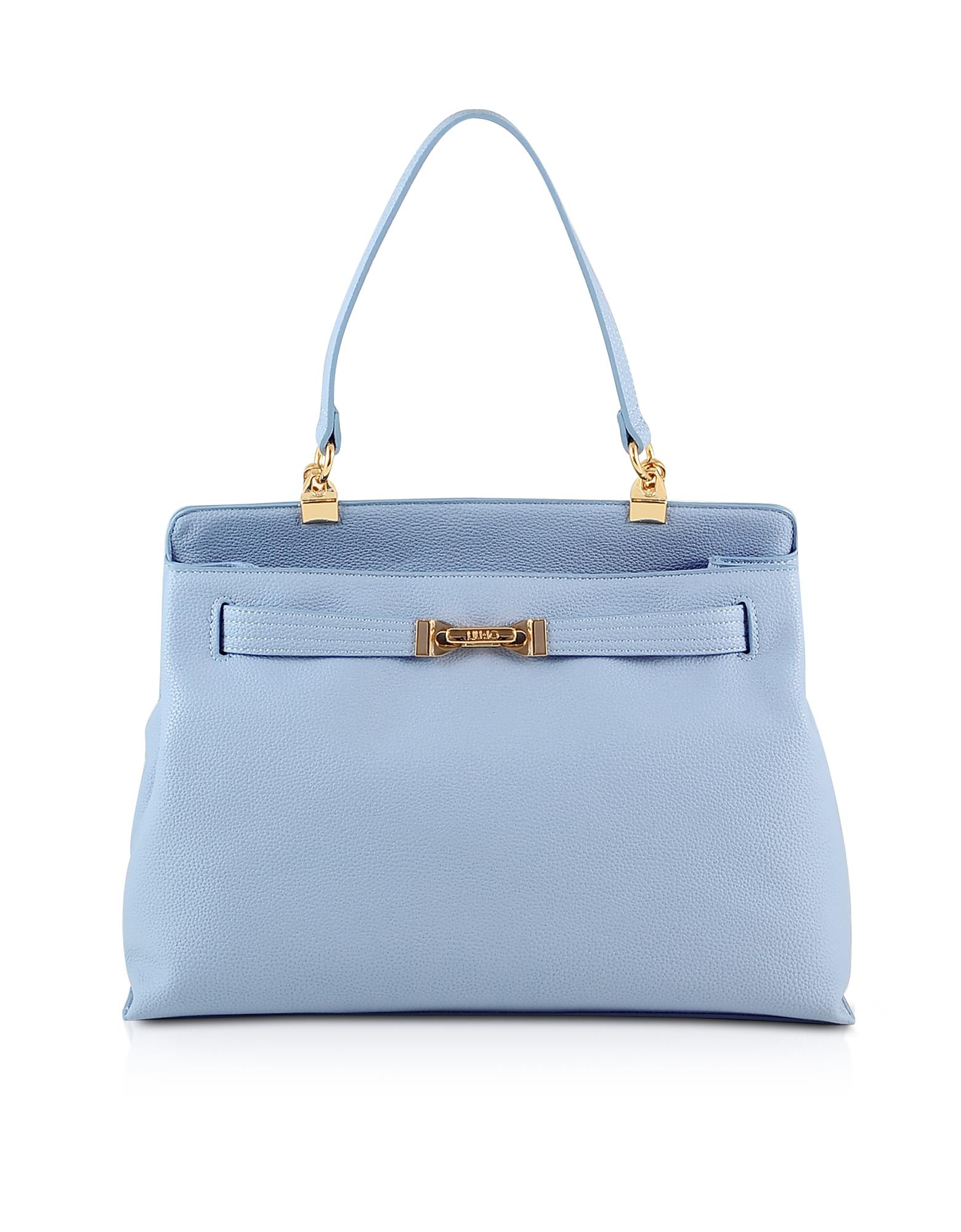 Liu Jo Designer Handbags, Light Blue Top Handle Tote