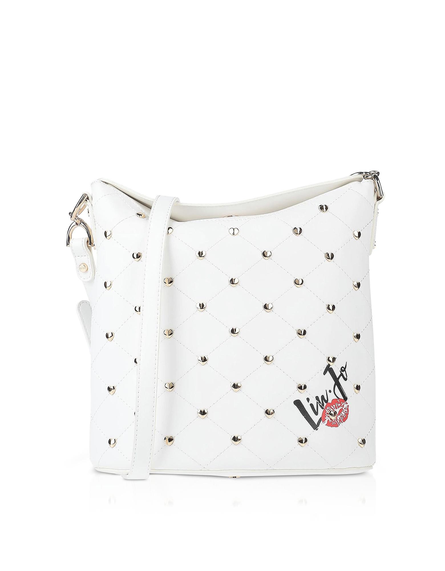 Liu Jo Designer Handbags, Withe Studded Bucket Bag