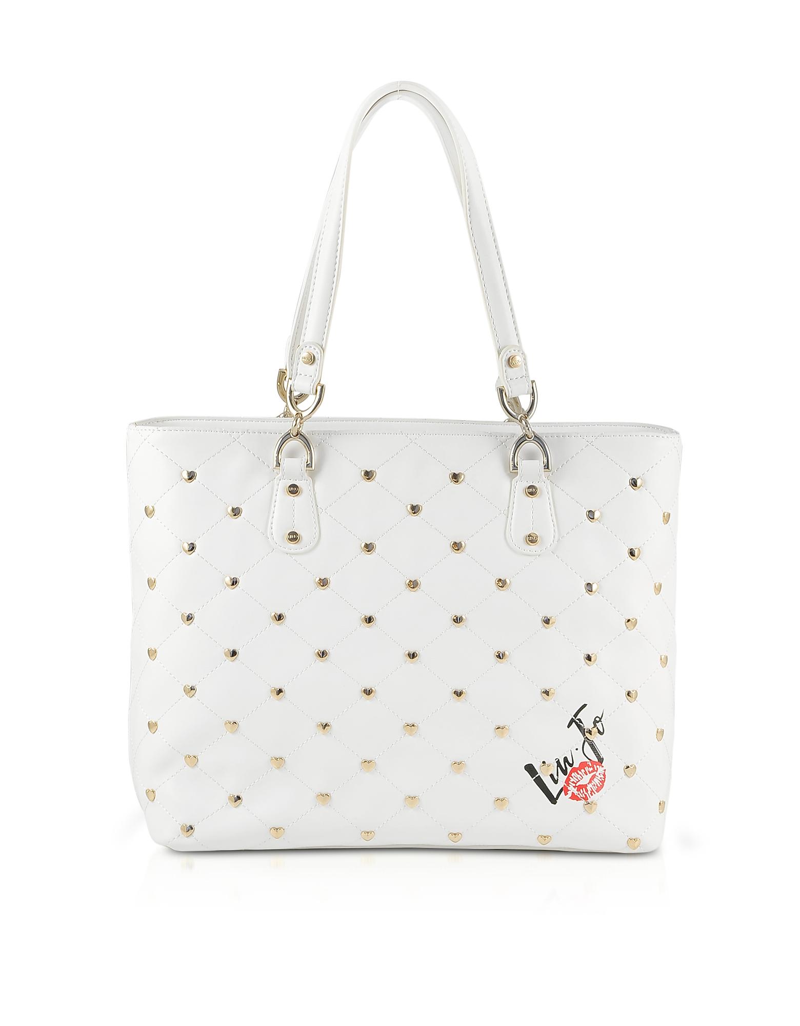 Liu Jo Designer Handbags, Withe Studded Tote Bag