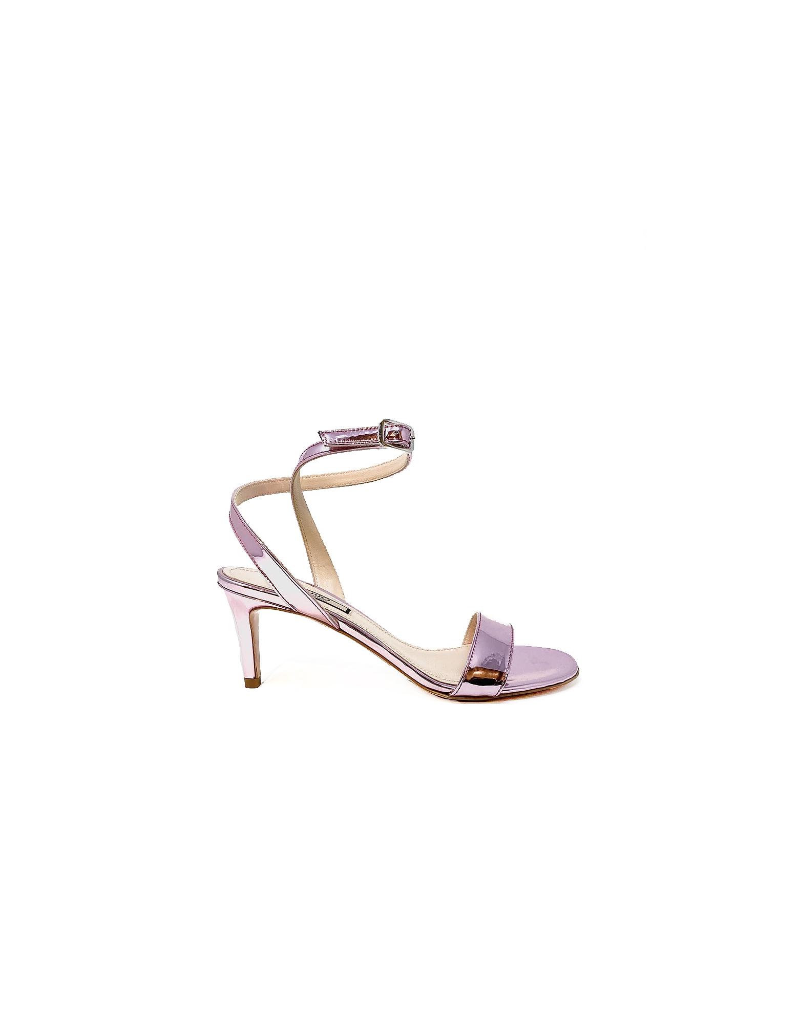 Liu Jo Designer Shoes, Metallic Lilac High Heel Sandal Shoes