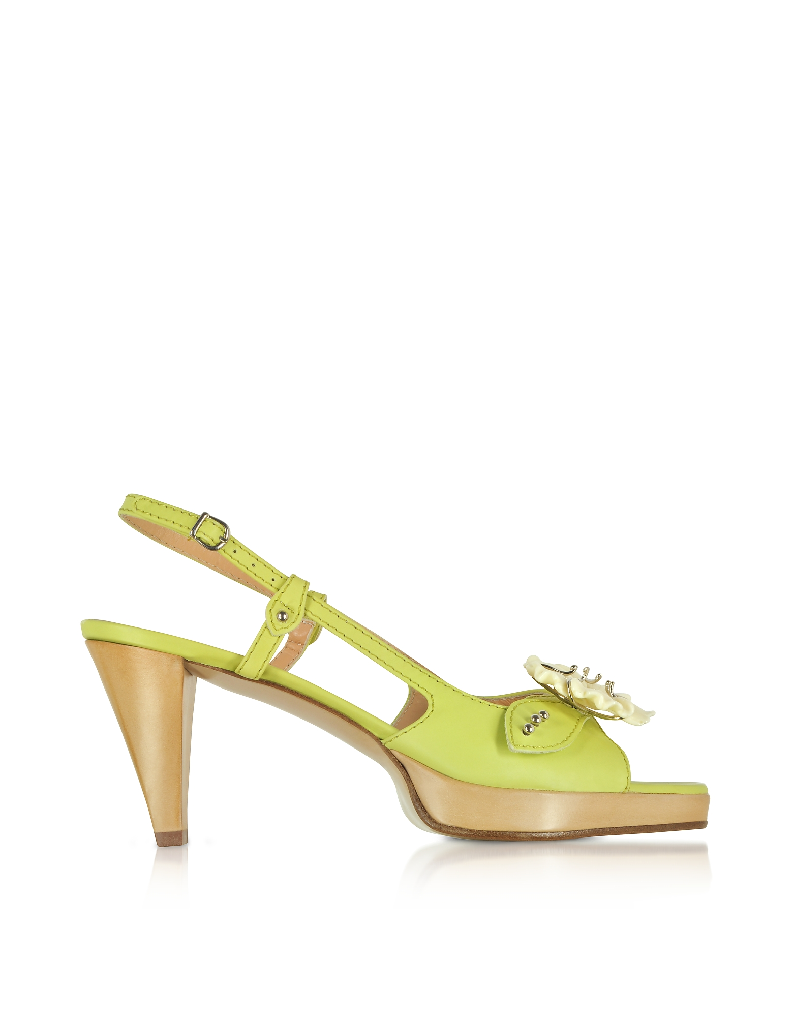 Borgo degli Ulivi Shoes, Flower Pistachio Platform Leather Sandal Shoes