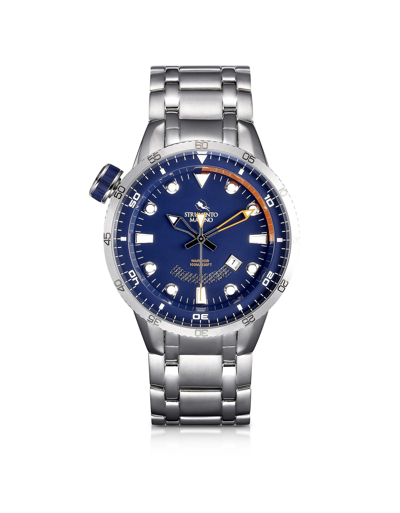 Strumento Marino Men's Watches, Warrior Stainless Steel Men's Watch w/Blue Dial