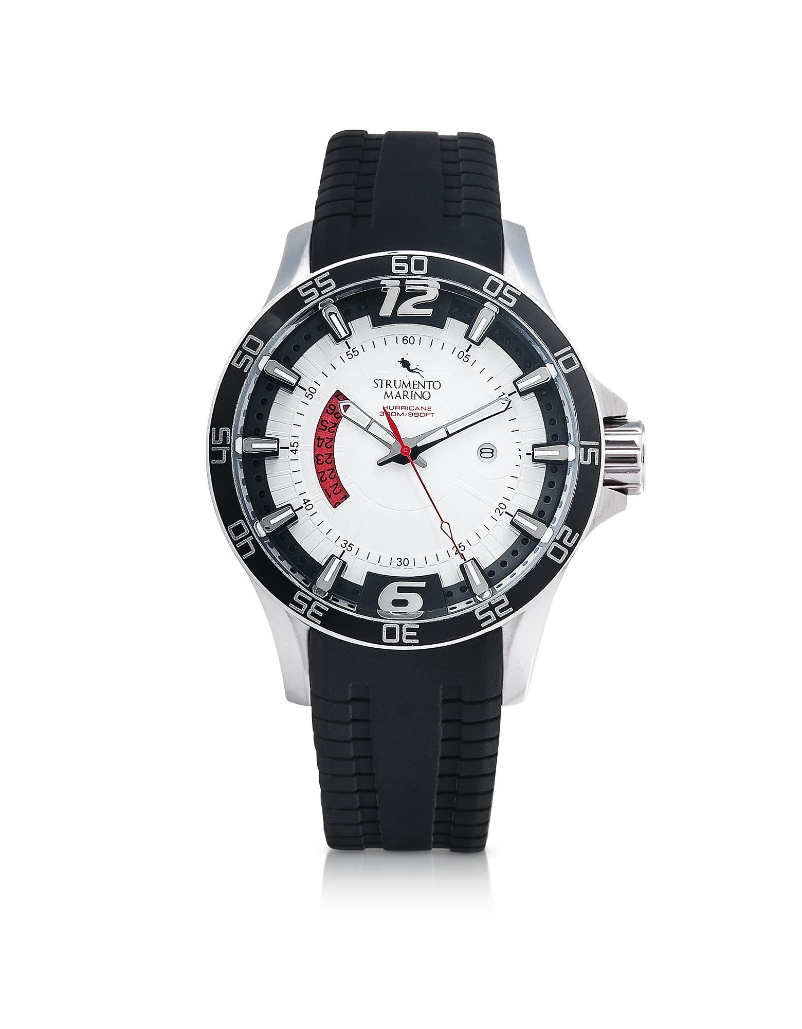 Hurricane 3 Hands Black Silicon Brushed Stainless Steel Men's Watch