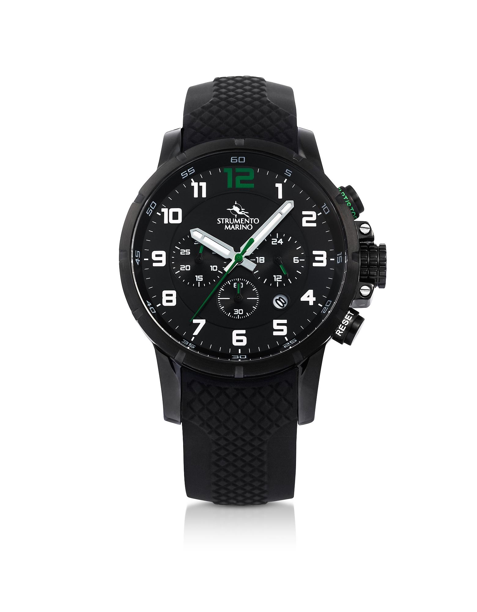 Strumento Marino Men's Watches, Summertime Black Stainless Steel Men's Chronograph Watch