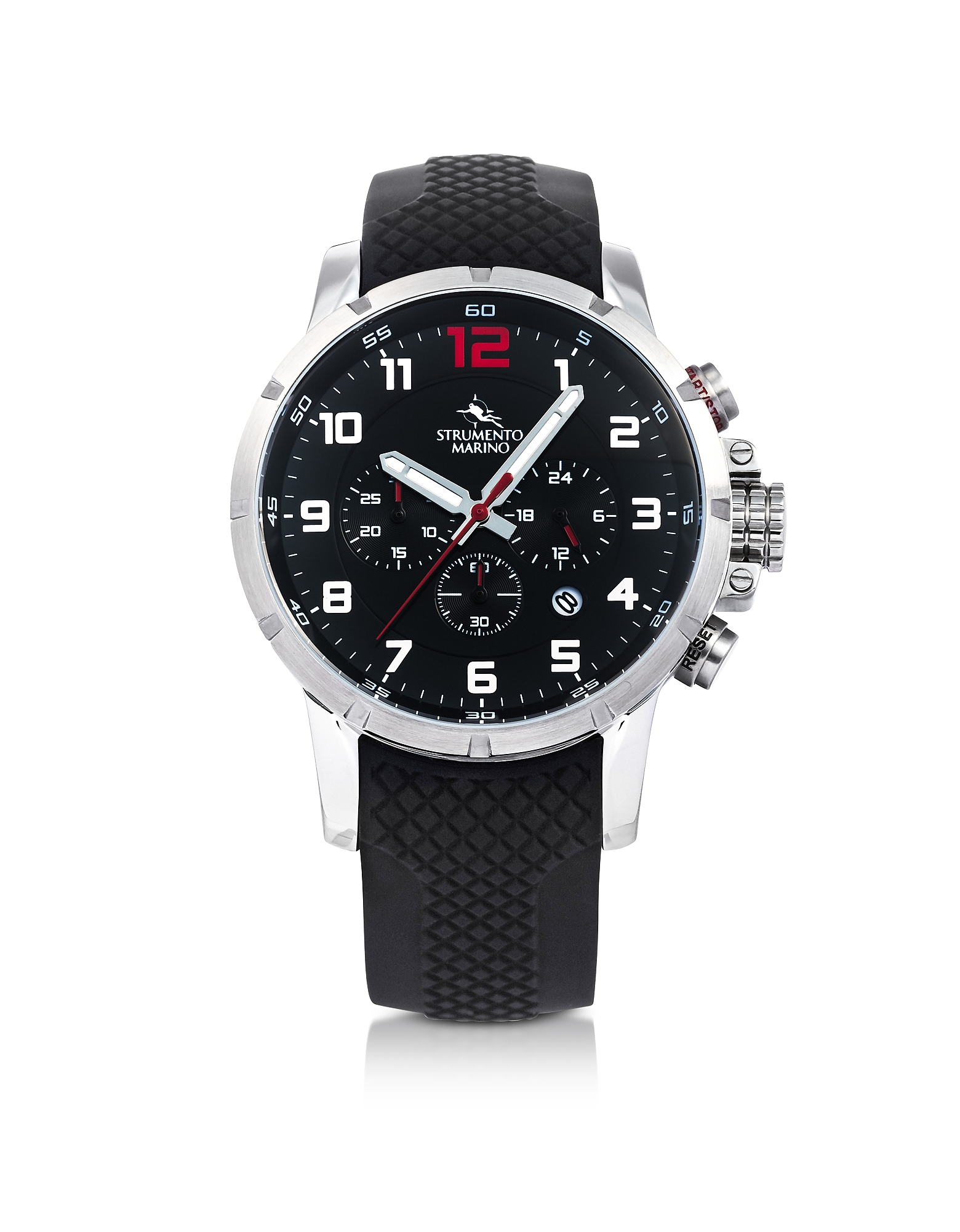 Strumento Marino Men's Watches, Summertime Stainless Steel and Black Silicone Men's Chronograph Watc