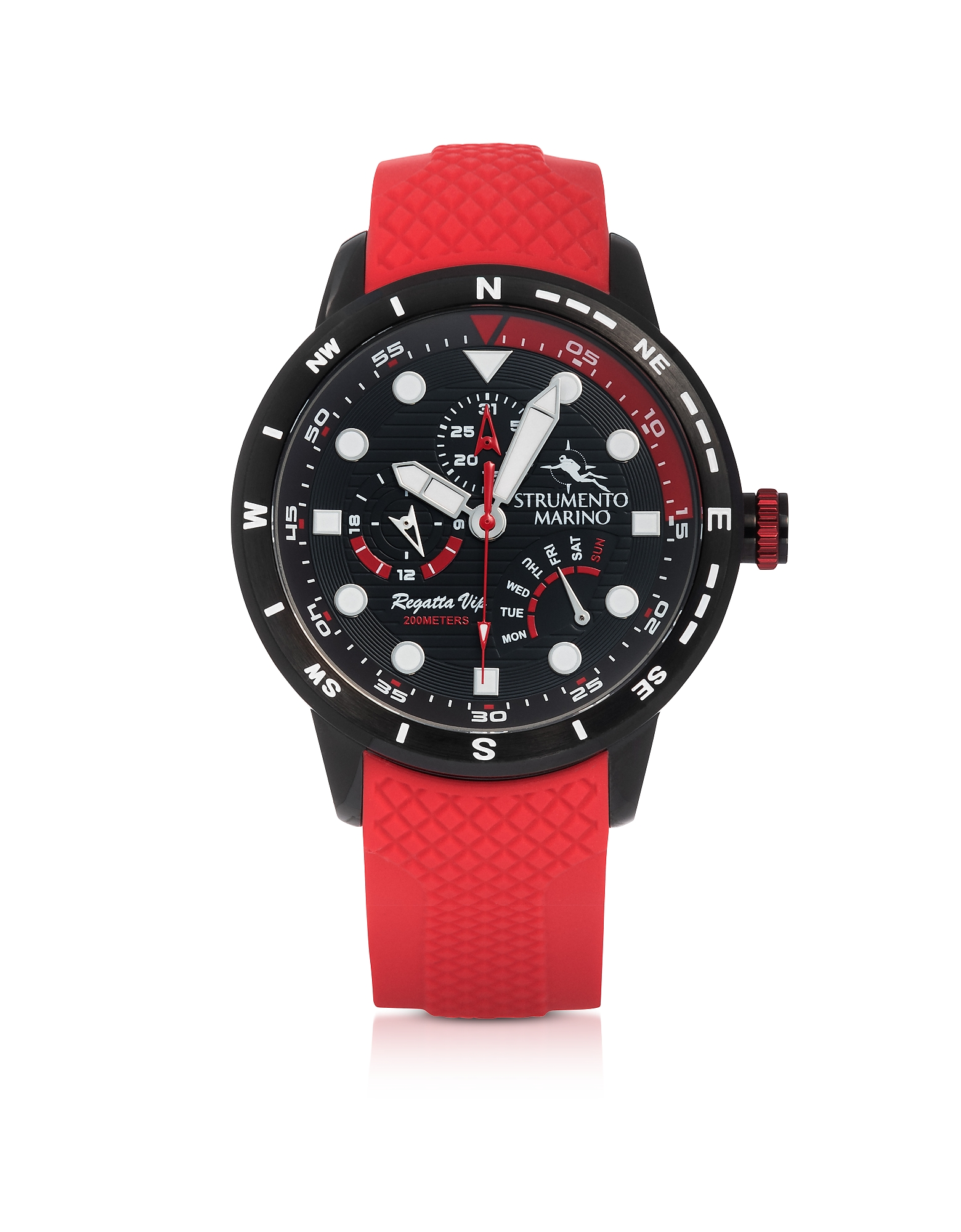 Regatta Vip Black Stainless Steel Men's Chronograph Watch w/Red Silicone Band