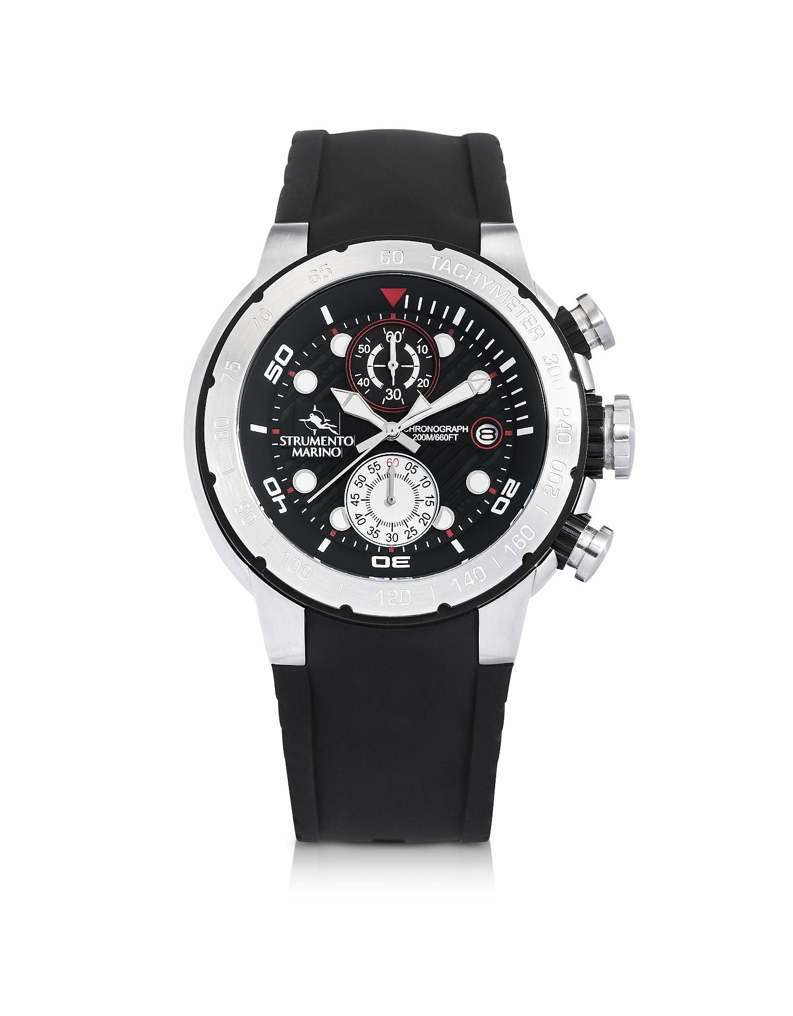 Saint-Tropez Orologio con Cronografo da Uomo in Acciaio e Silicone Nero