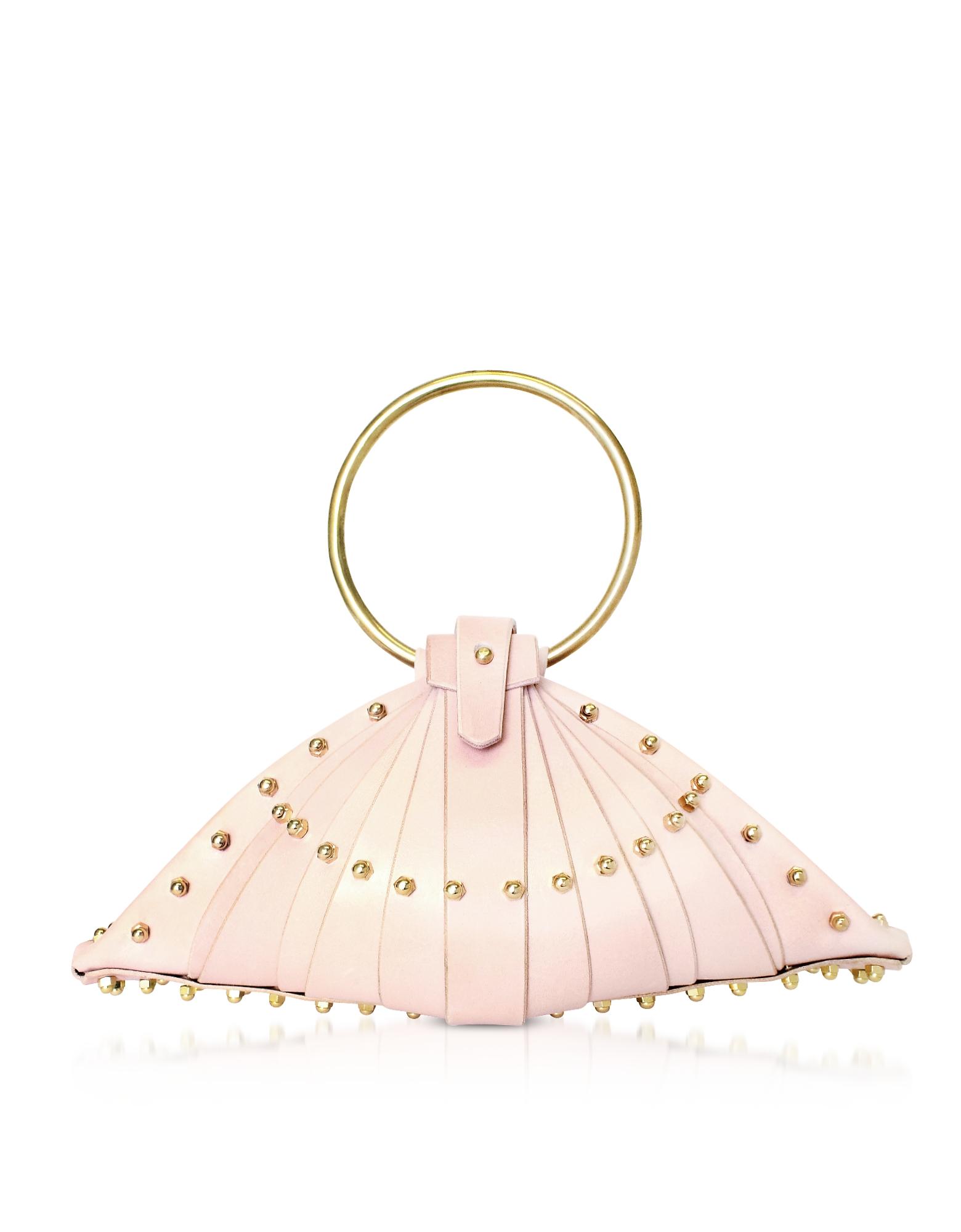 Shell Bag in Pelle Rosa Cipria con Borchie