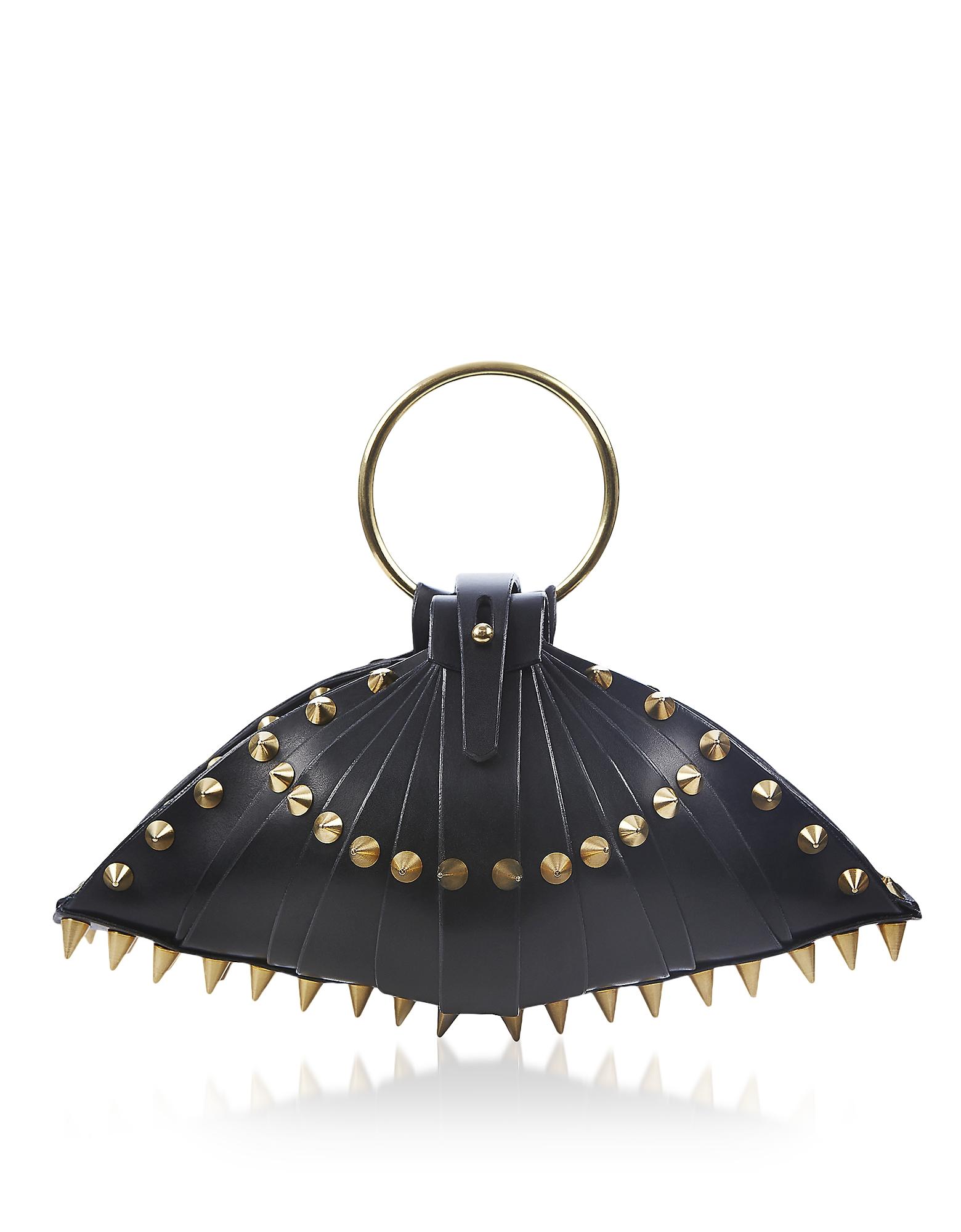 Black Leather Warrior Shell Bag