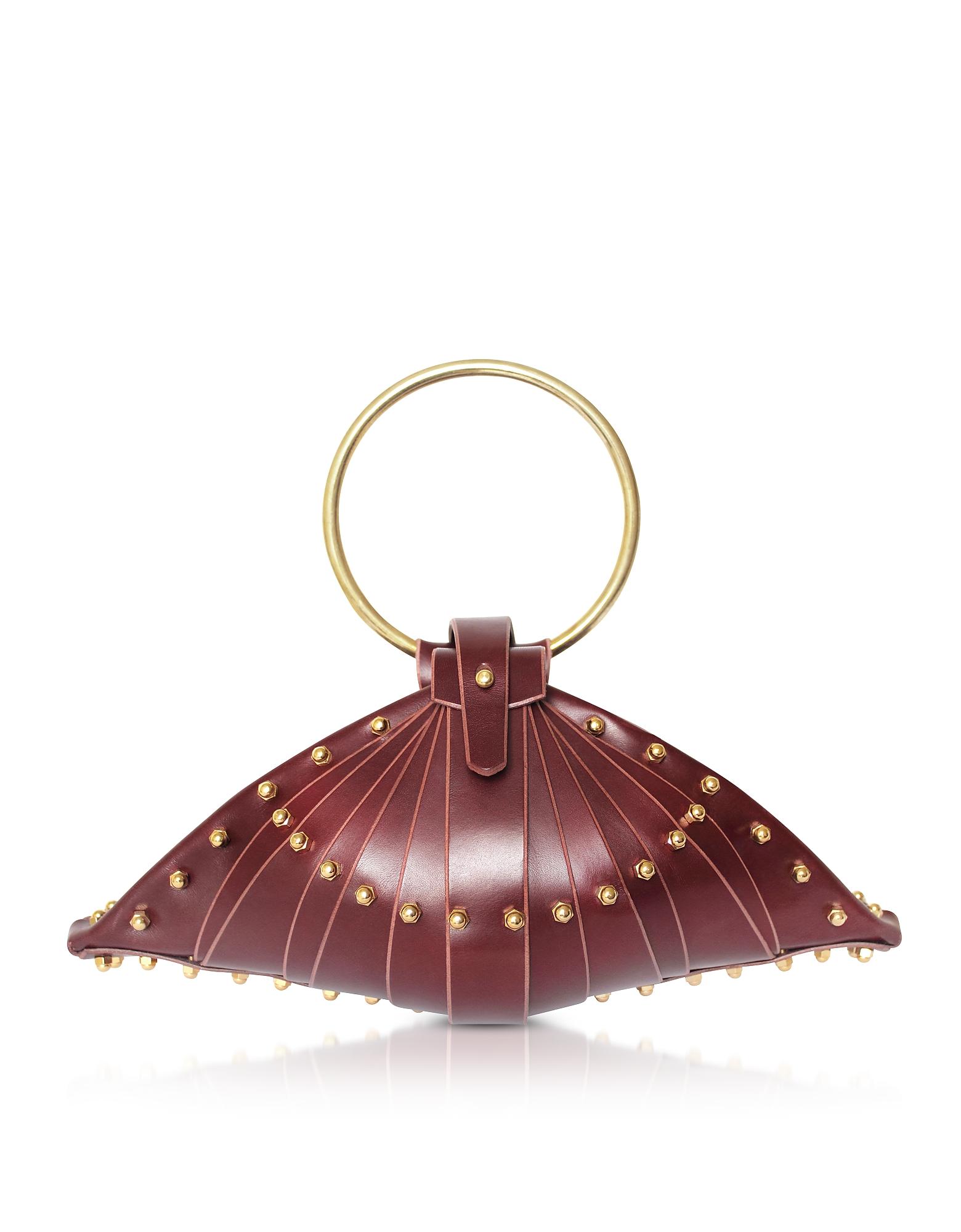 Shell Bag in Pelle Bordeaux con Borchie