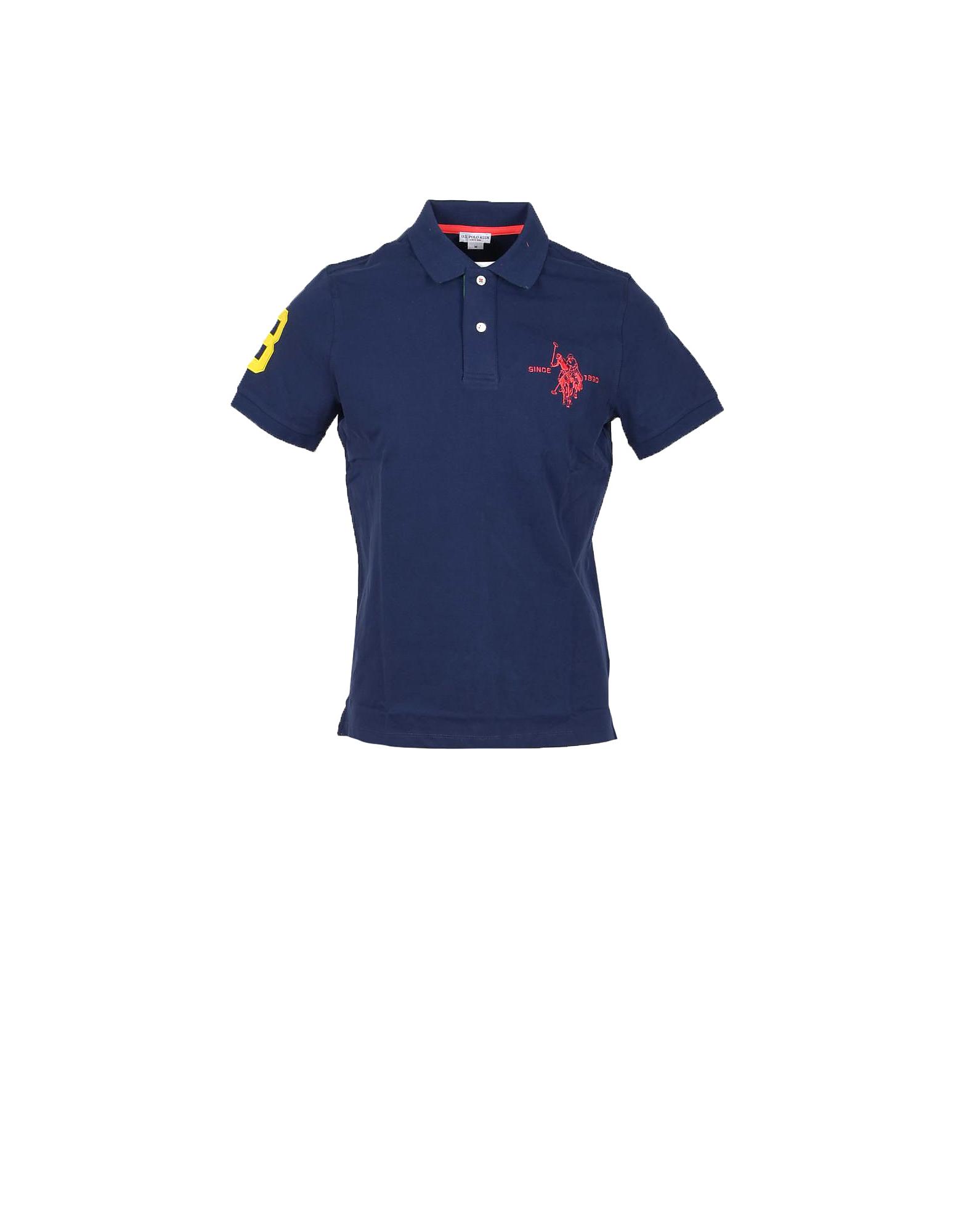 U.S. Polo Assn. Designer Polo Shirts, Dark Blue Piqué Cotton Men's Polo Shirt