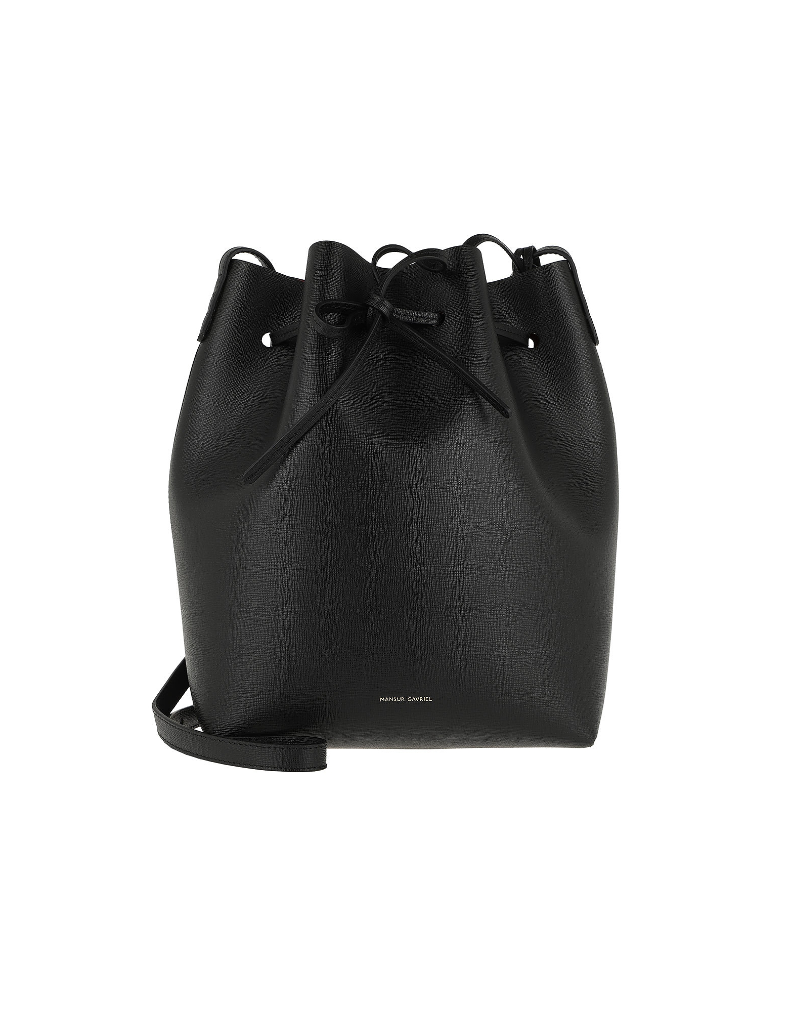 Bucket Bag Leather Black/Fiamma